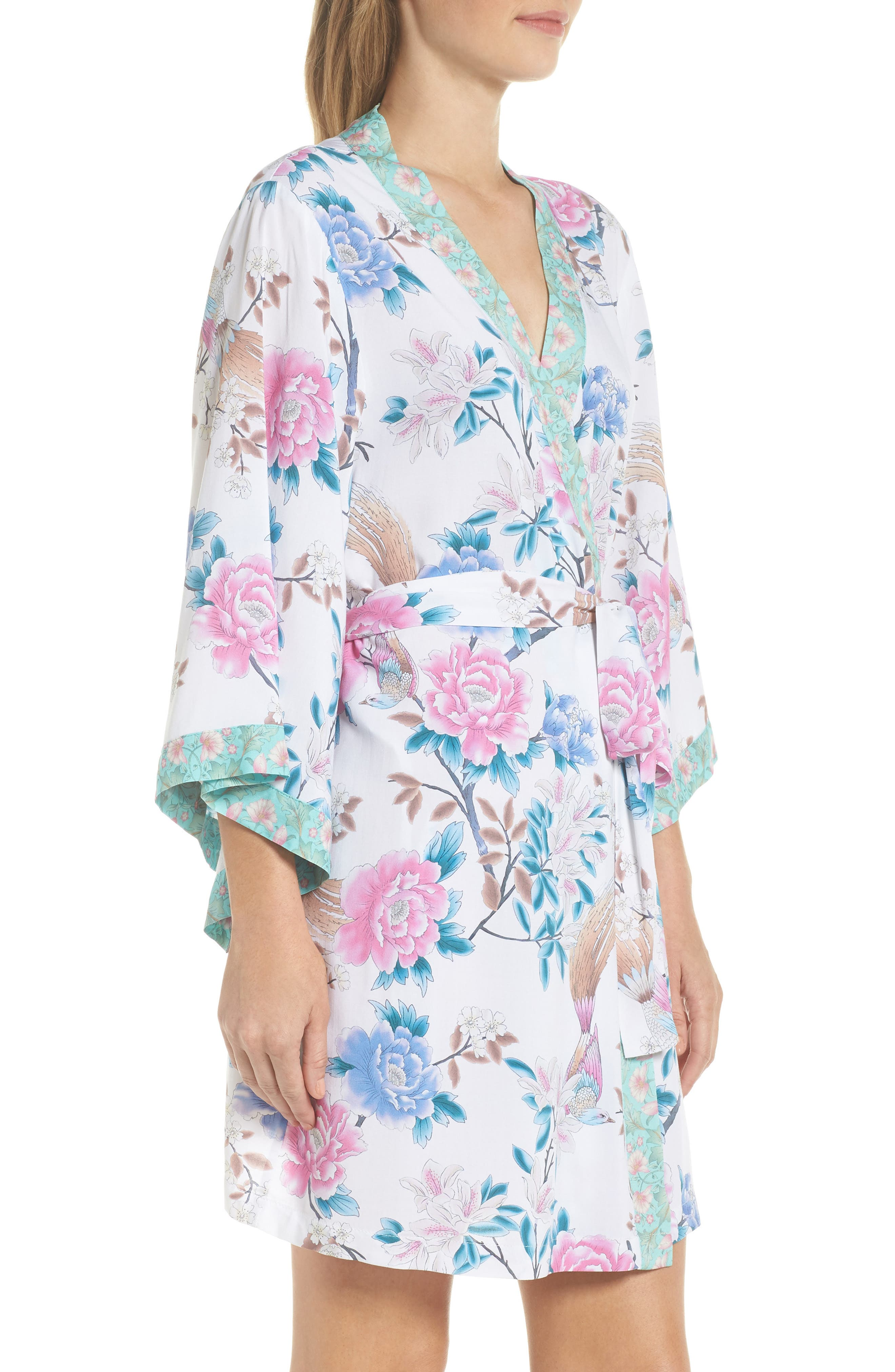 Talulah Boho Short Robe,                             Alternate thumbnail 3, color,                             Ivory Floral