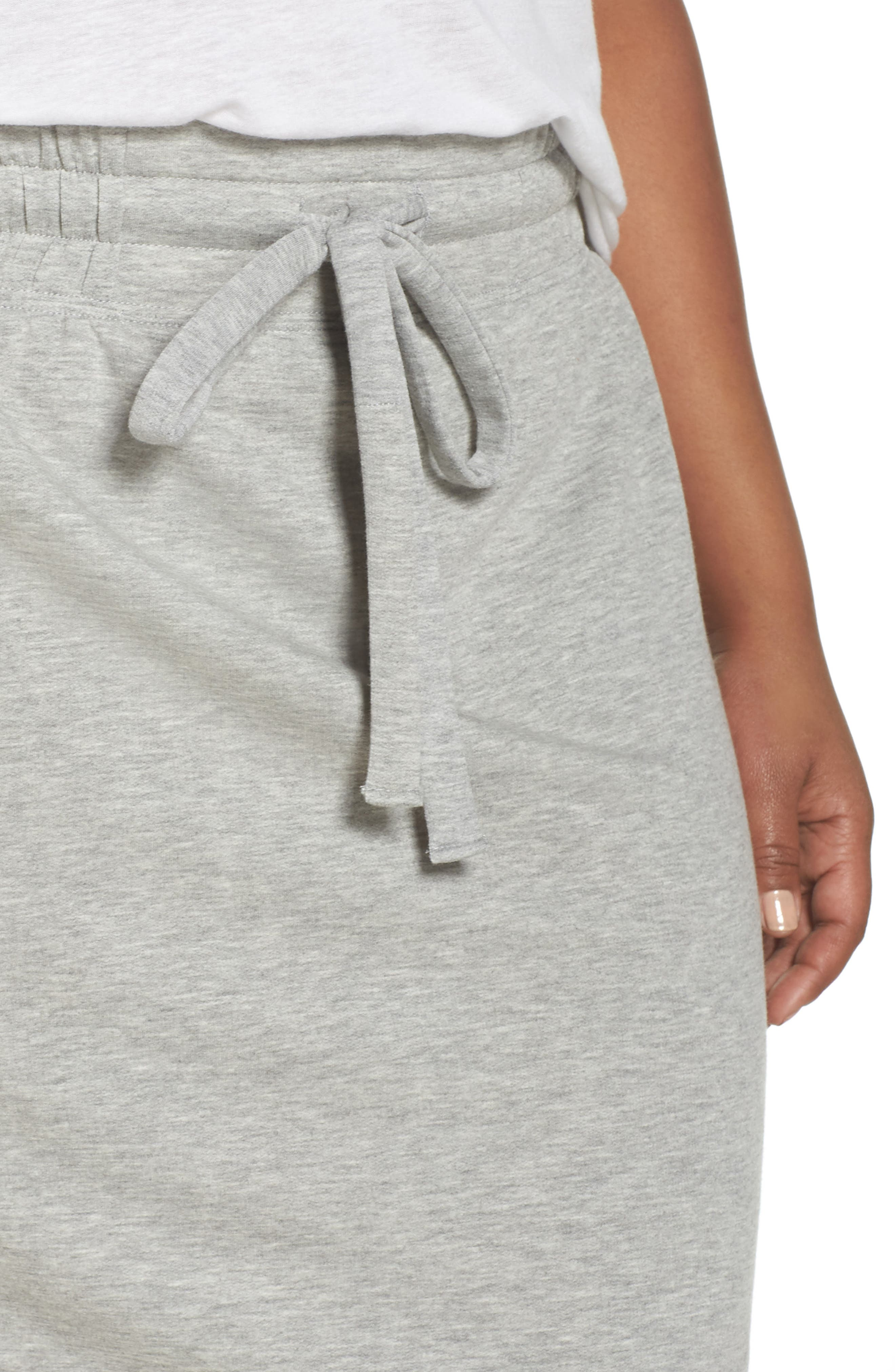Off-Duty Tie Waist Miniskirt,                             Alternate thumbnail 4, color,                             Grey Heather