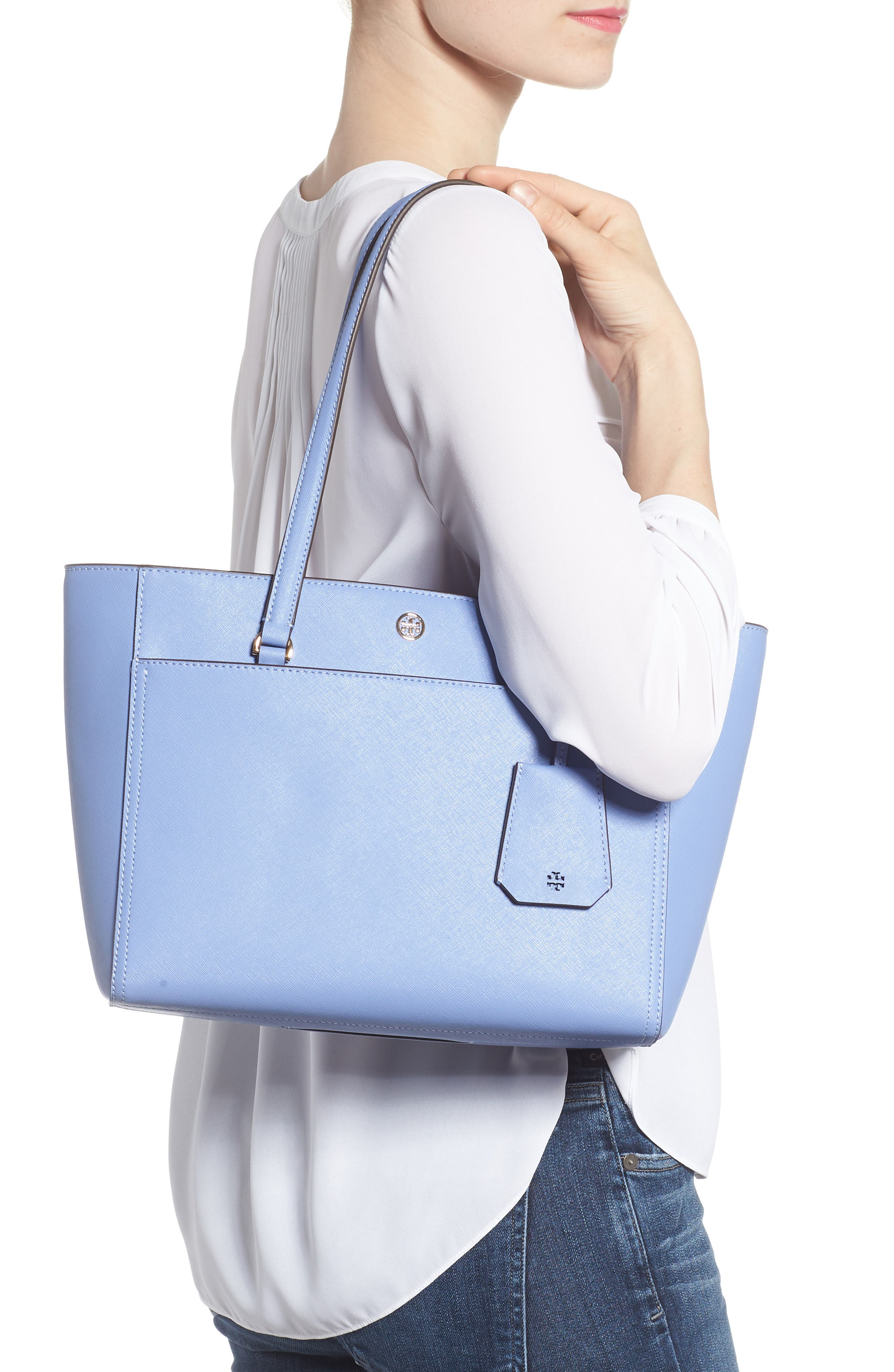 Small Robinson Leather Tote,                             Alternate thumbnail 2, color,                             Bow Blue