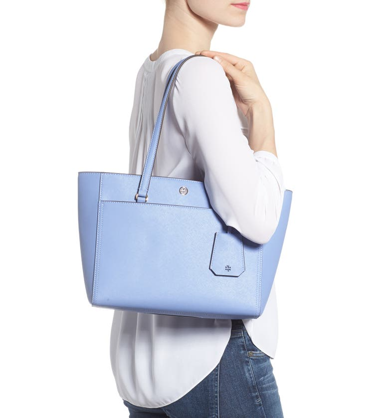 Small Robinson Leather Tote,                         Alternate,                         color, Bow Blue