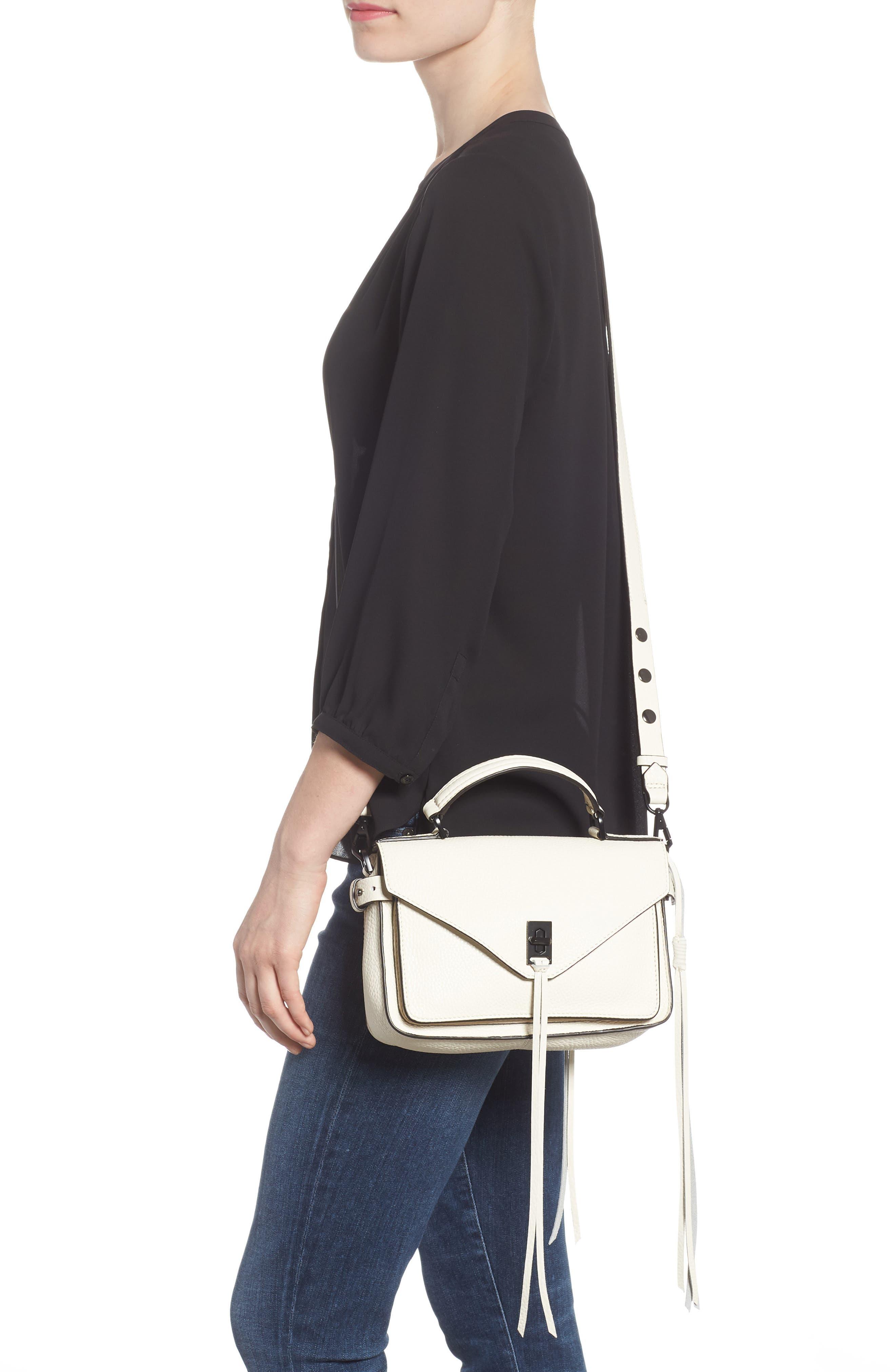 'Small Darren' Leather Messenger Bag,                             Alternate thumbnail 2, color,                             Antique White
