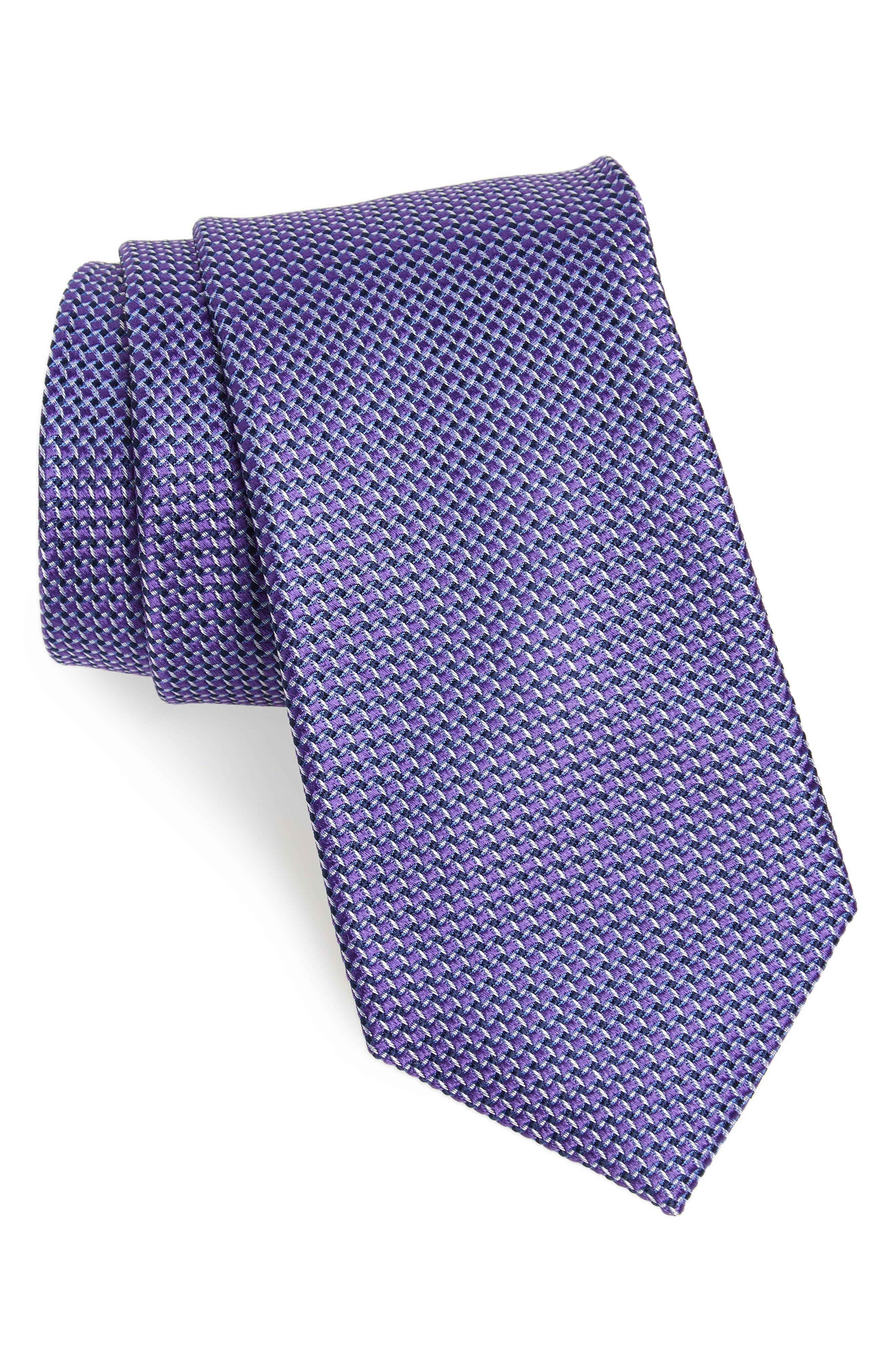 Russo Geo Print Silk Tie,                         Main,                         color, Purple