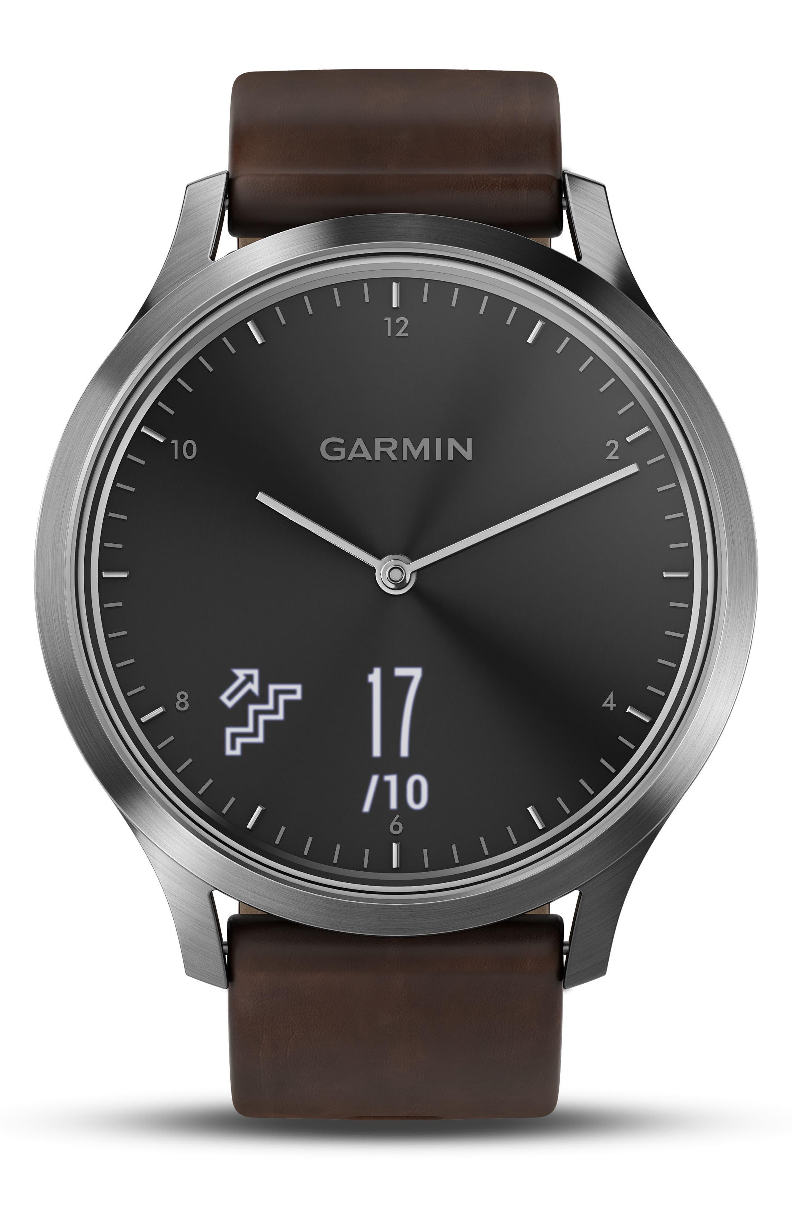 Vivomove HR Hybrid Smart Watch,                             Alternate thumbnail 5, color,                             Brown/ Black/ Silver