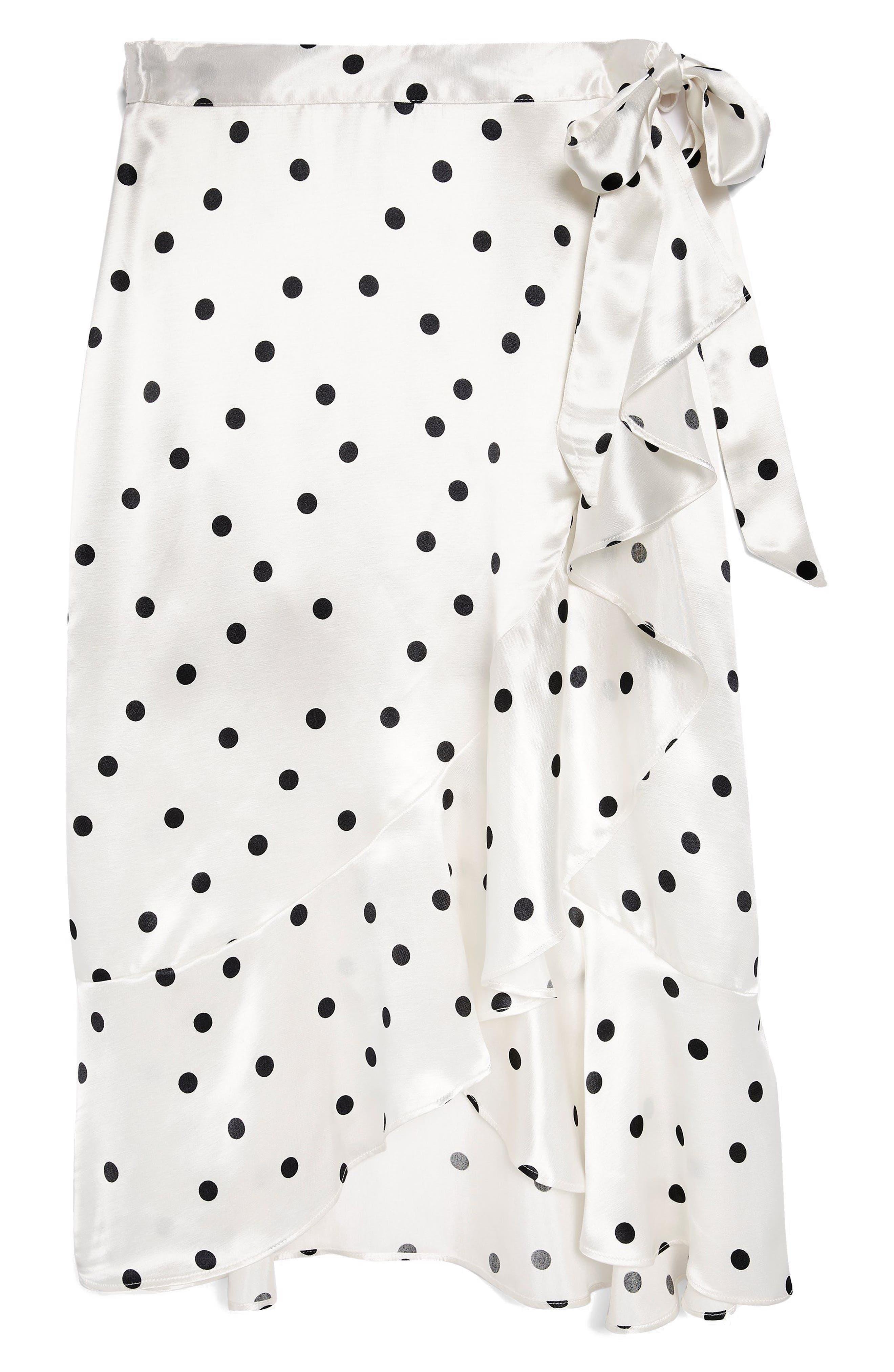 Satin Spot Ruffle Skirt,                             Alternate thumbnail 4, color,                             White Multi