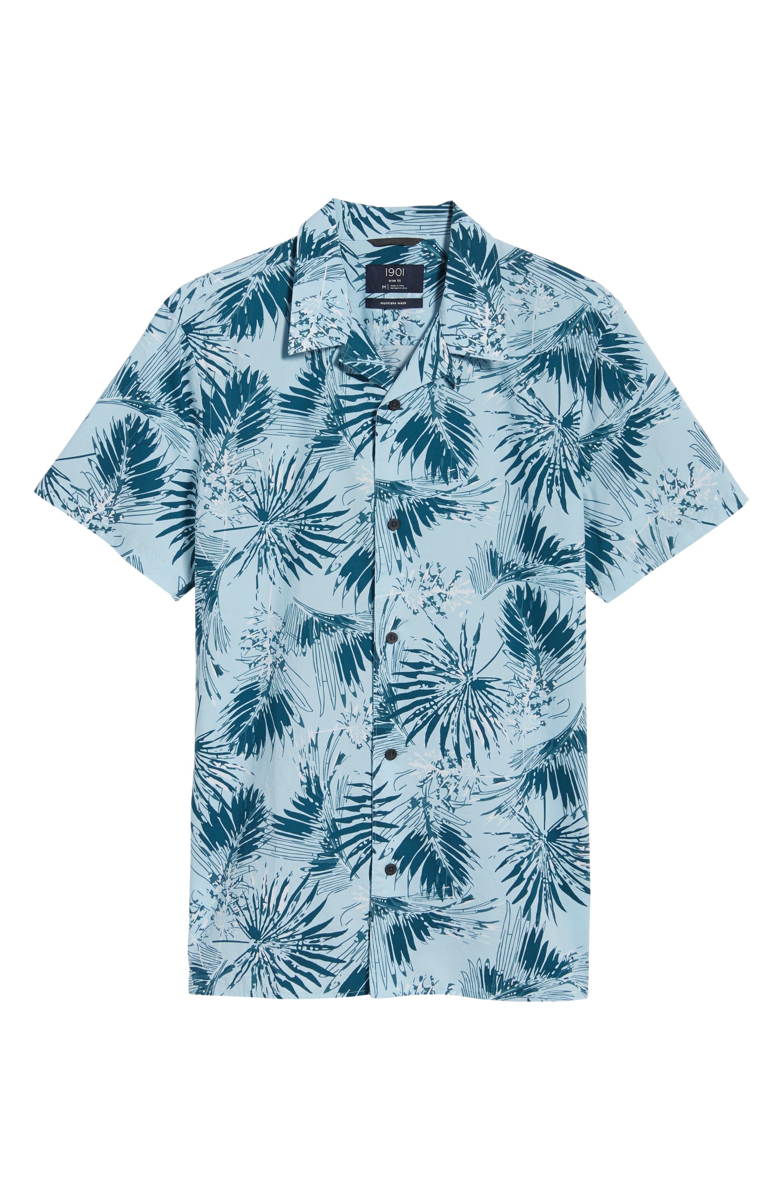Trim Fit Palm Print Camp Shirt,                             Alternate thumbnail 6, color,                             Blue Cloud Fan Palms