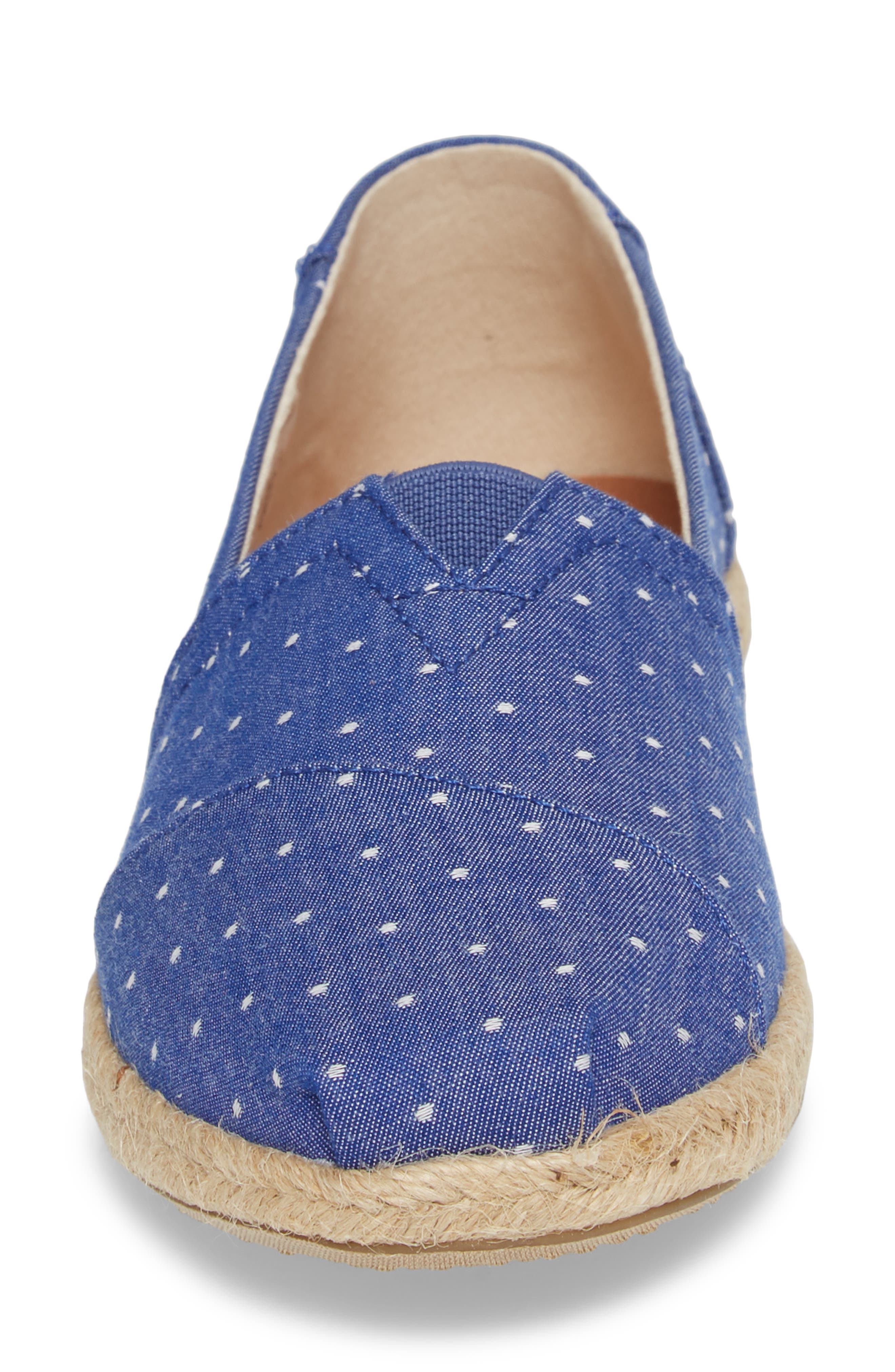 Deconstructed Alpargata Slip-On,                             Alternate thumbnail 4, color,                             Blue Dot Fabric