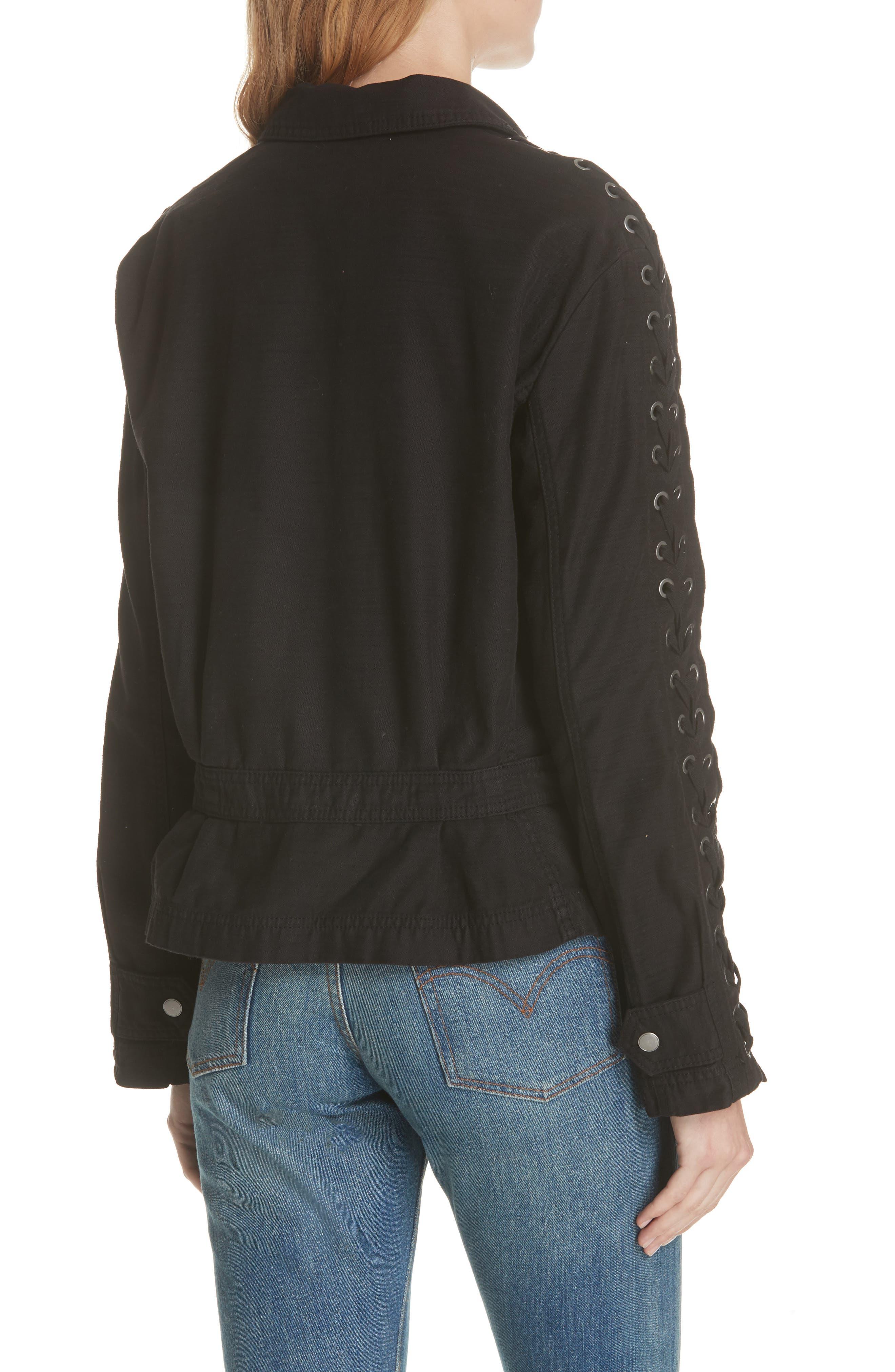 Faye Military Jacket,                             Alternate thumbnail 2, color,                             Black