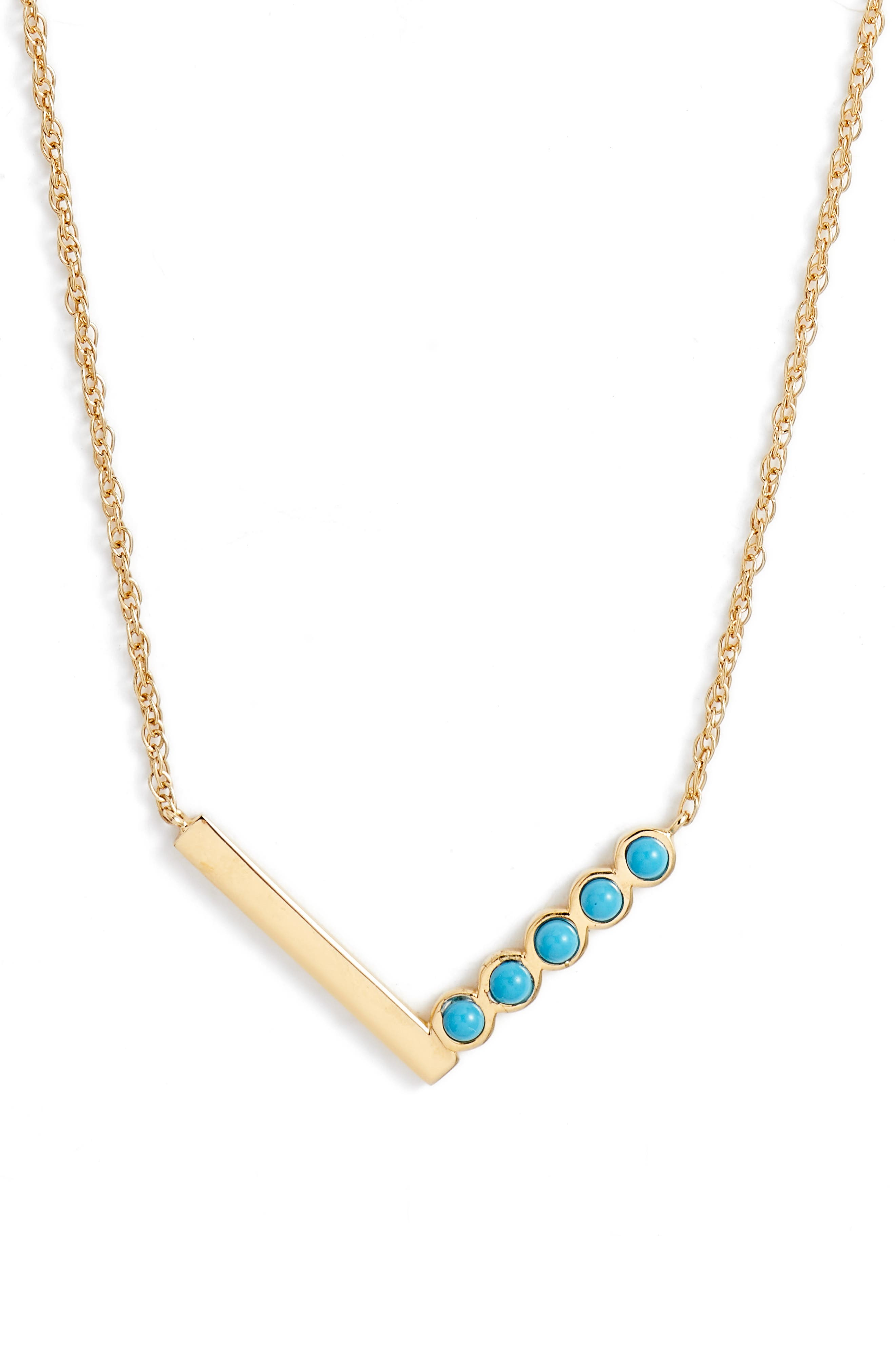 Willow Turquoise Pendant Necklace,                         Main,                         color, Yellow Vermeil