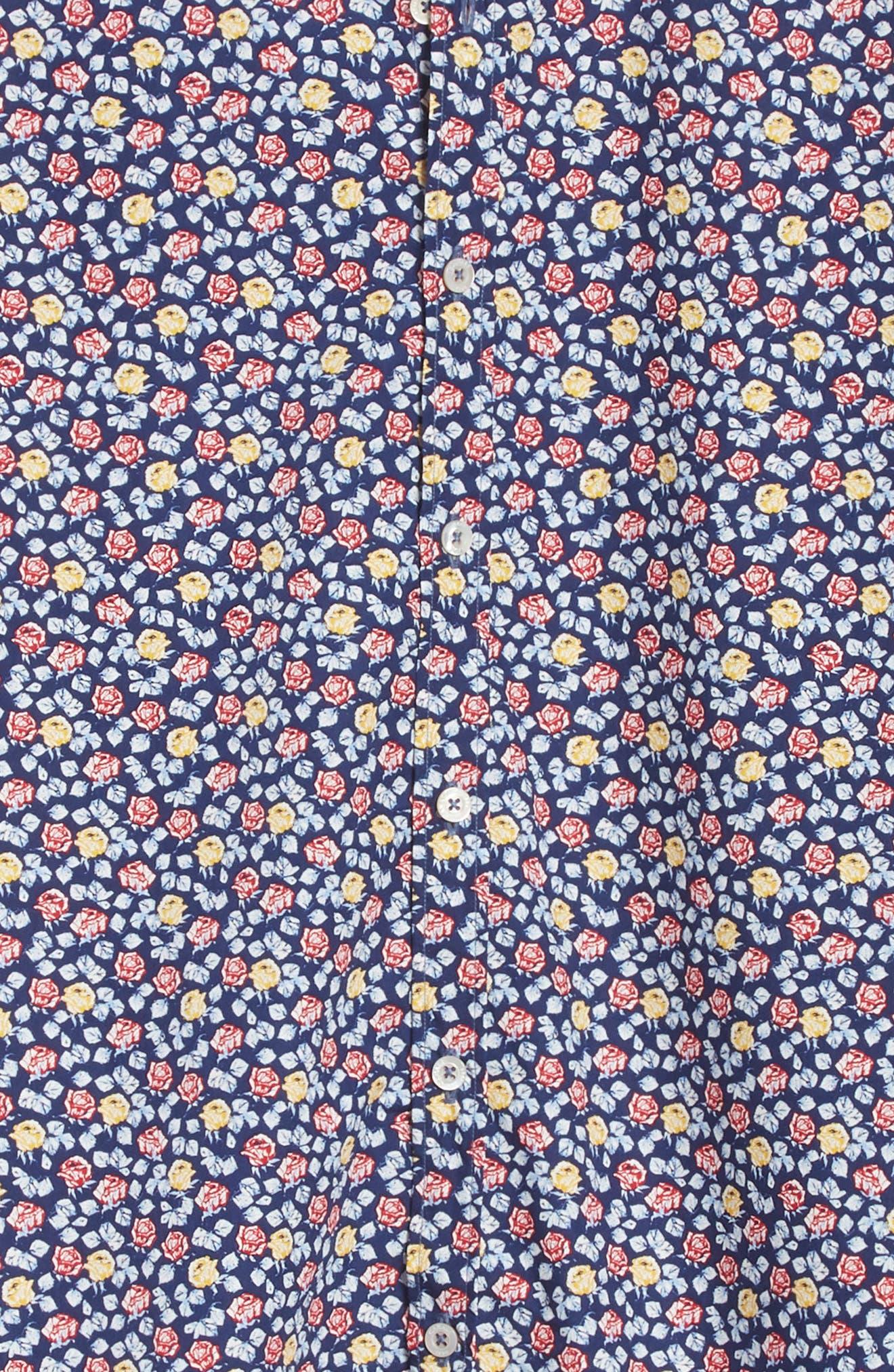Regular Fit Floral Sport Shirt,                             Alternate thumbnail 5, color,                             Blue