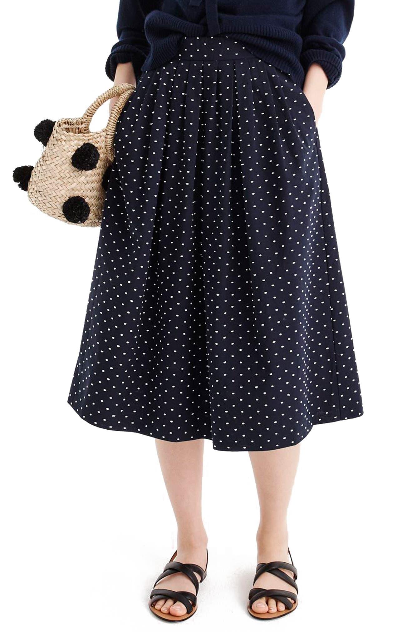 Vintage Clip Dot Midi Skirt,                             Main thumbnail 1, color,                             Navy White