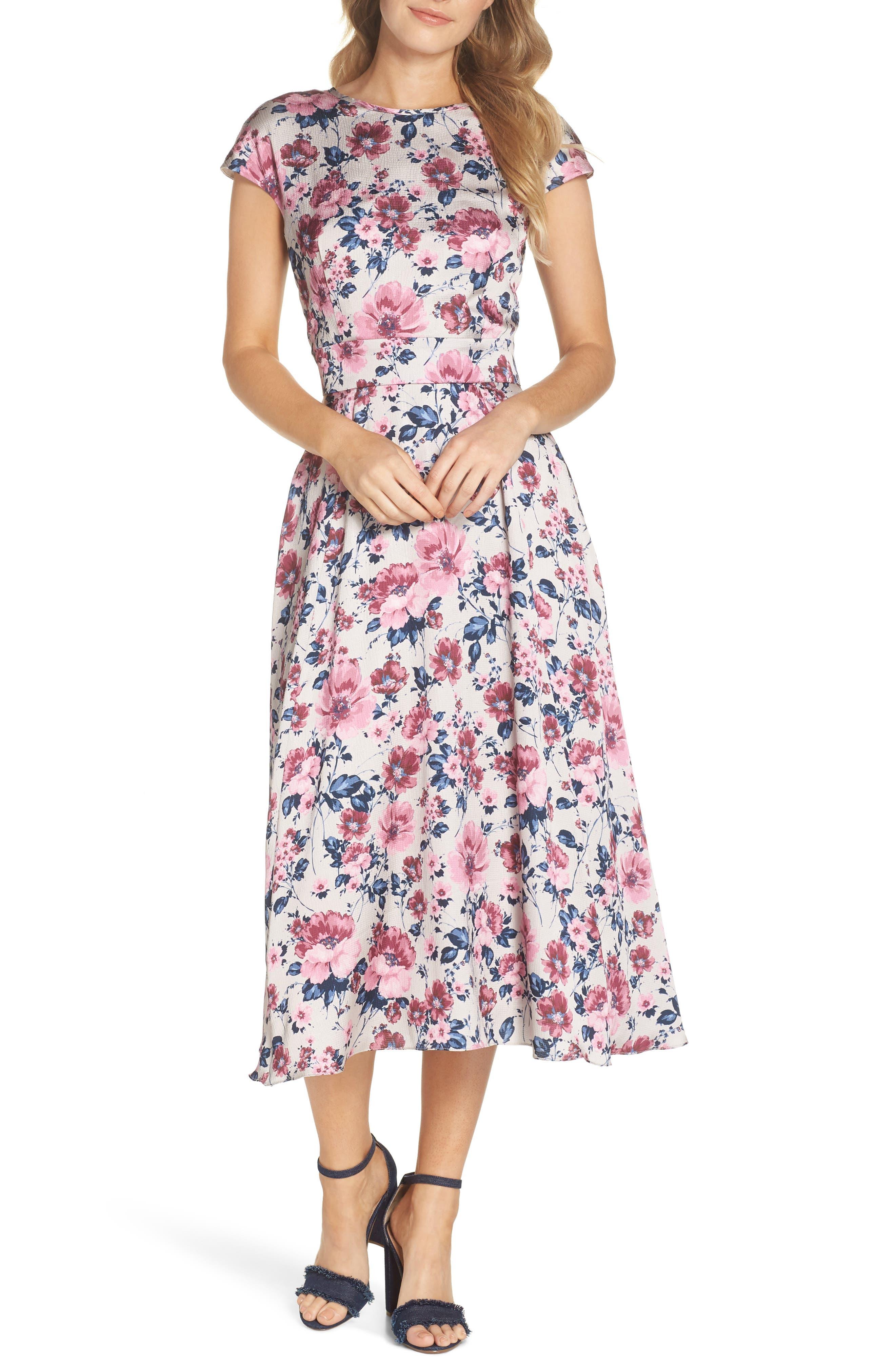 Julia Seersucker Midi Dress,                         Main,                         color, Beige/ Pink