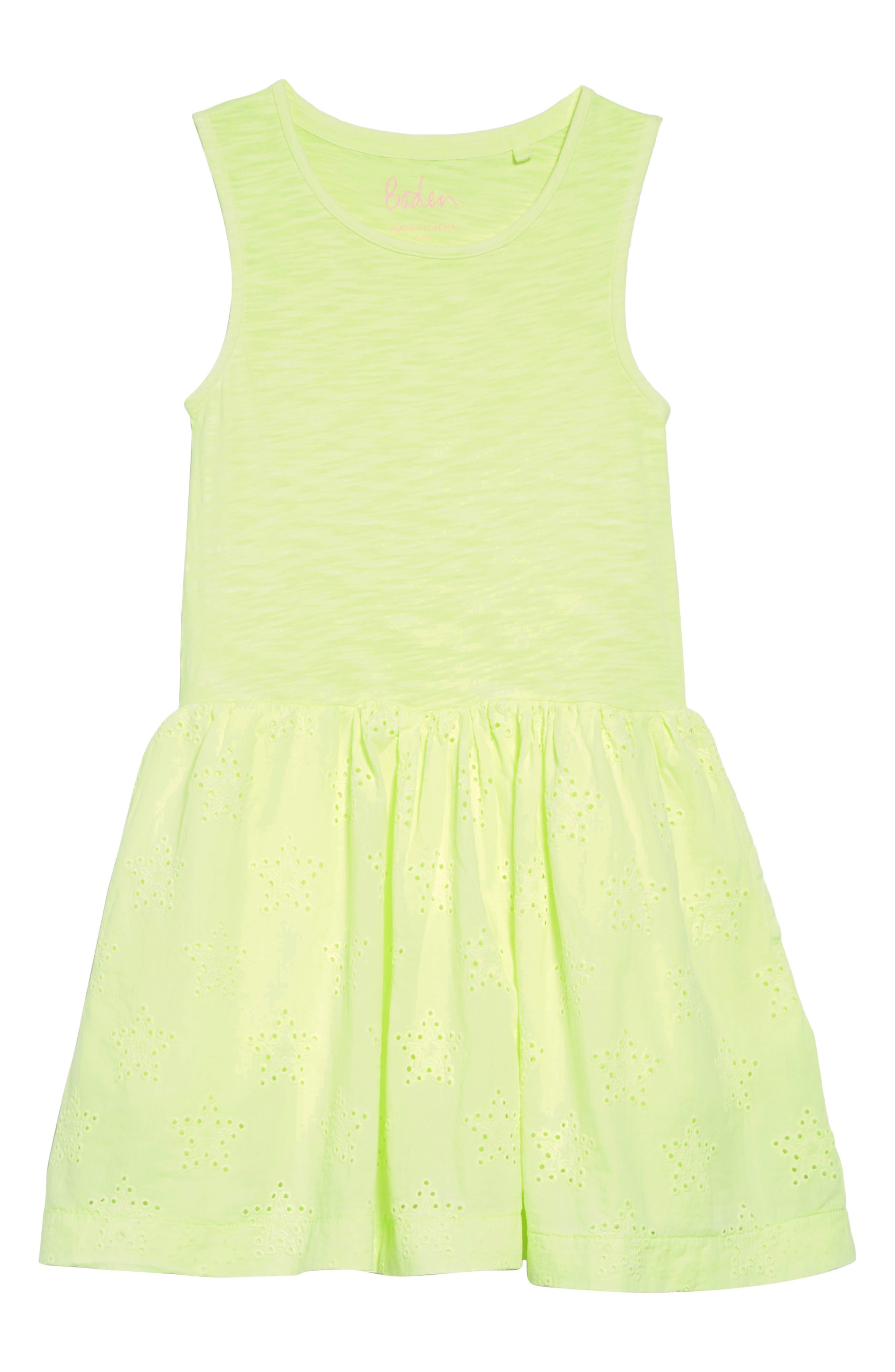 Jersey & Woven Dress,                         Main,                         color, Yelacid Yellow