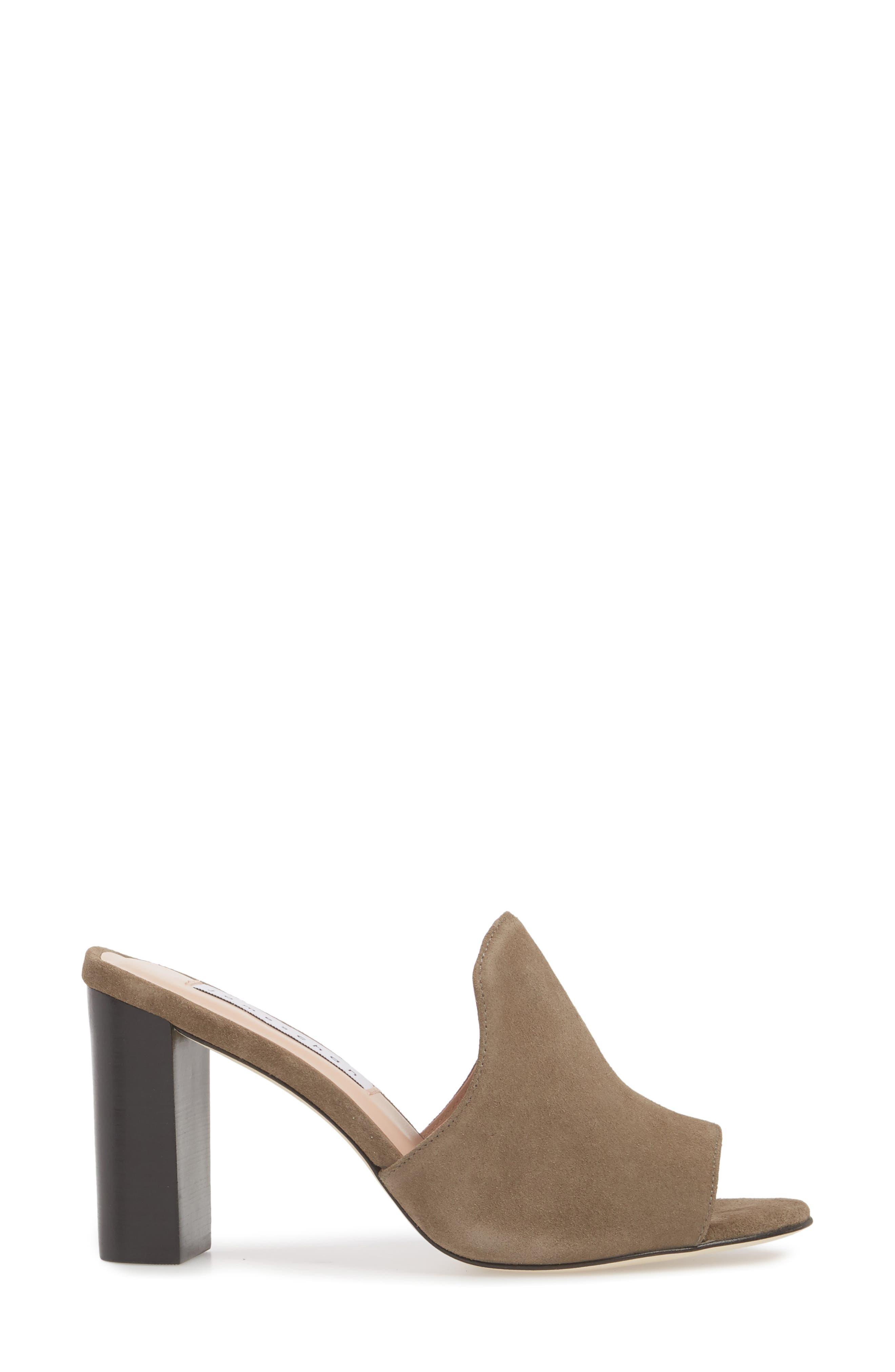 Aimee Block Heel Mule,                             Alternate thumbnail 3, color,                             Stone Suede