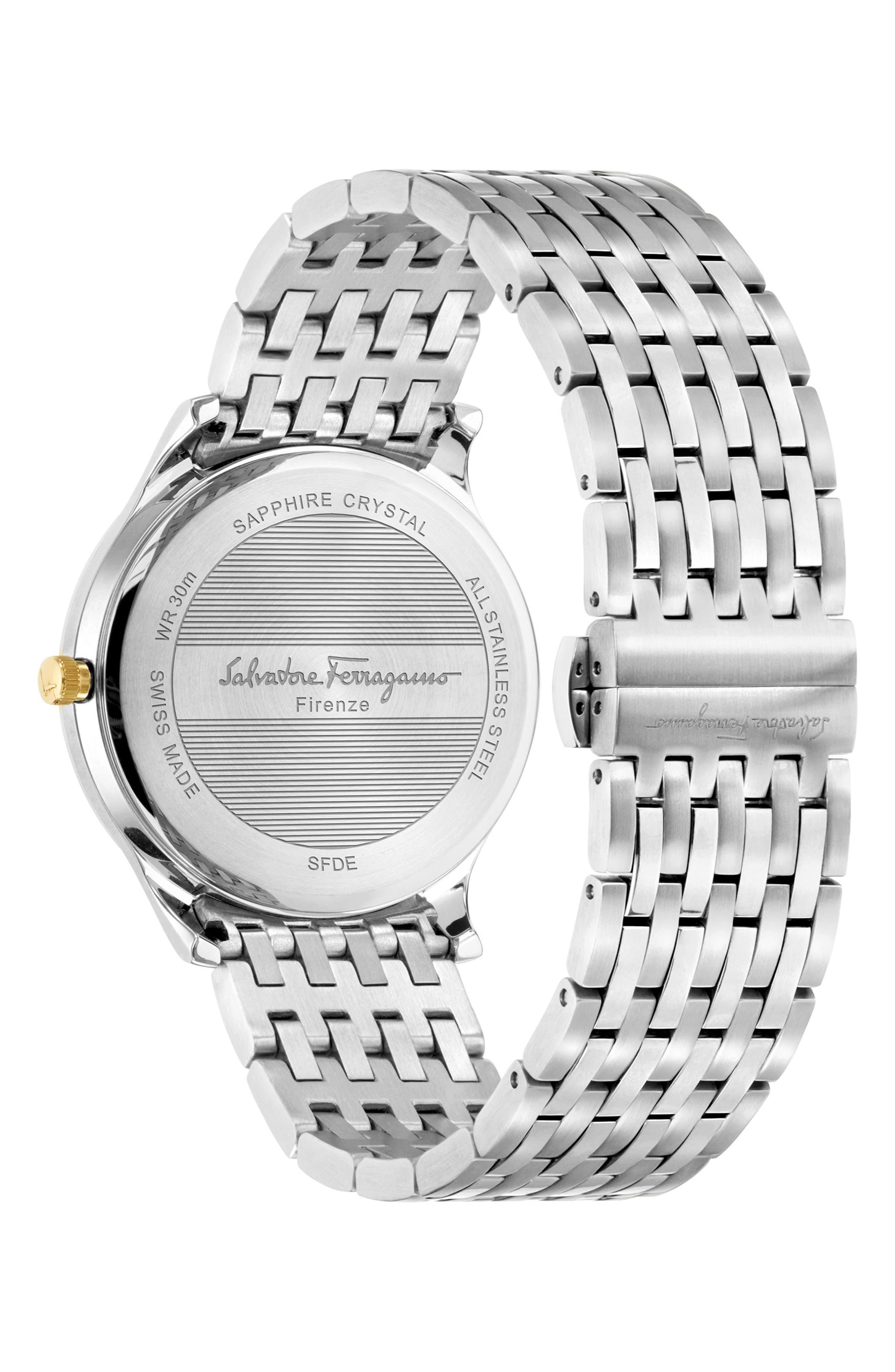 Slim Formal Bracelet Watch, 40mm,                             Alternate thumbnail 2, color,                             Silver/ Black/ Silver