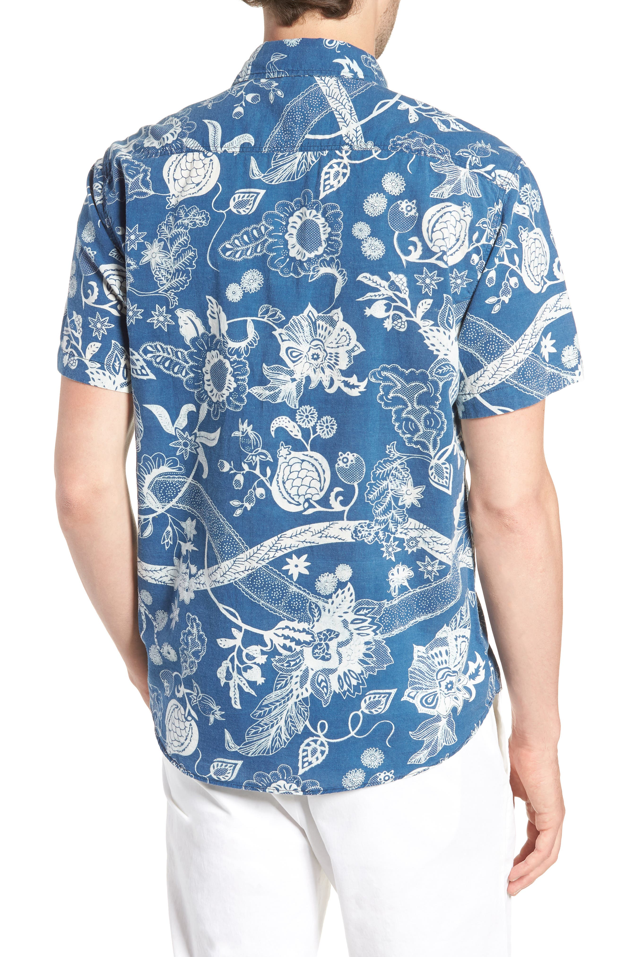 Coast Floral Sport Shirt,                             Alternate thumbnail 3, color,                             Kenji Floral