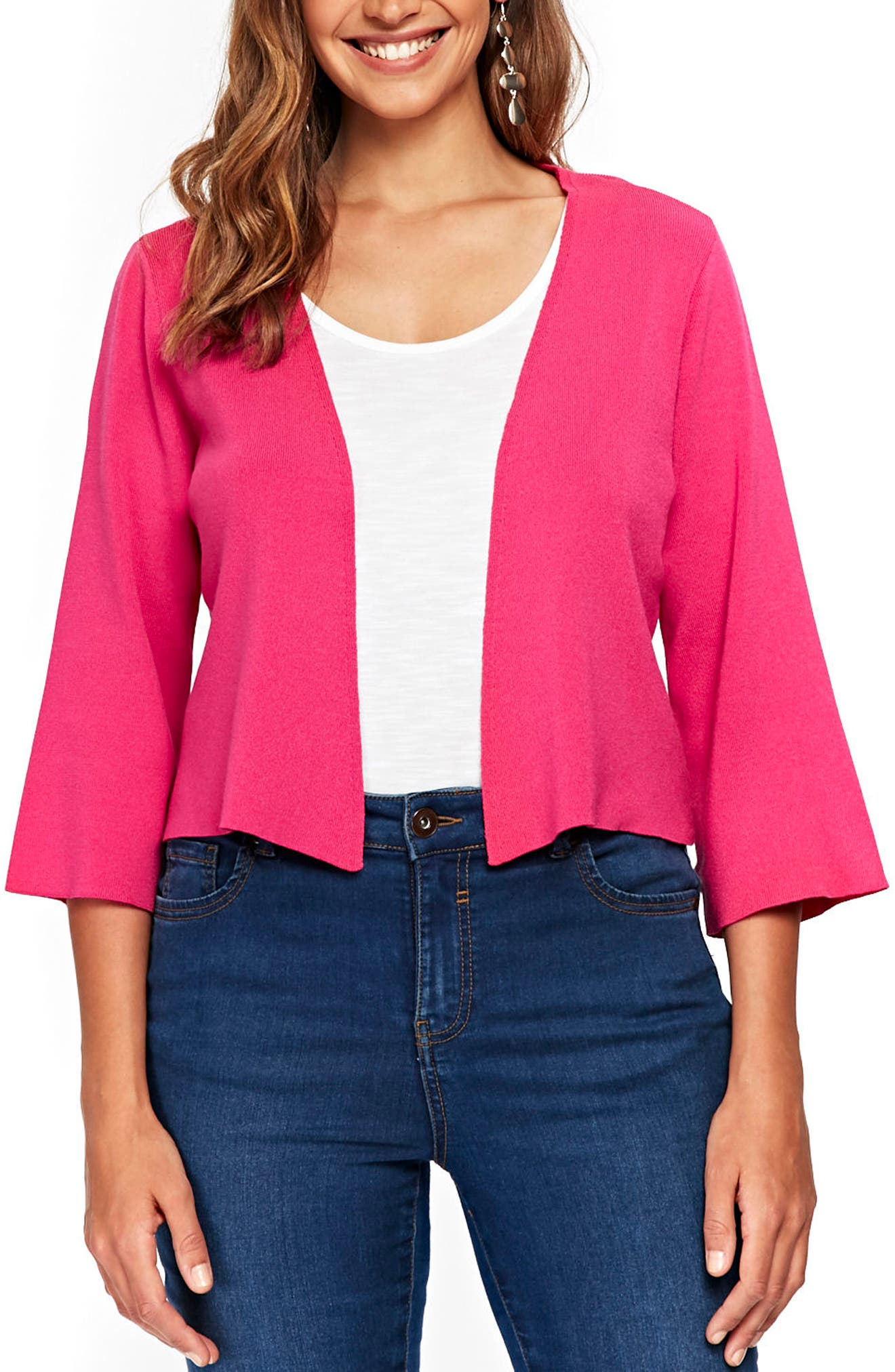 Wide Sleeve Shrug Sweater,                         Main,                         color, Pink