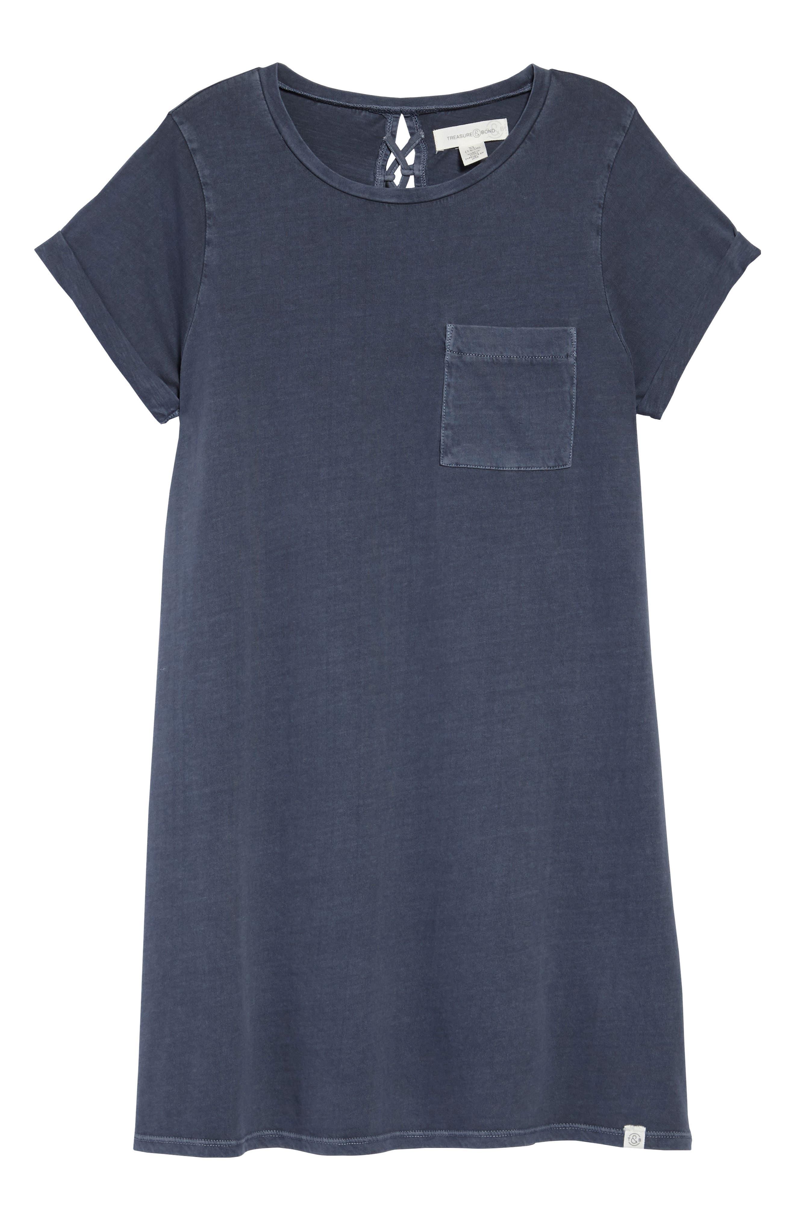 Washed T-Shirt Dress,                             Main thumbnail 1, color,                             Navy Armada