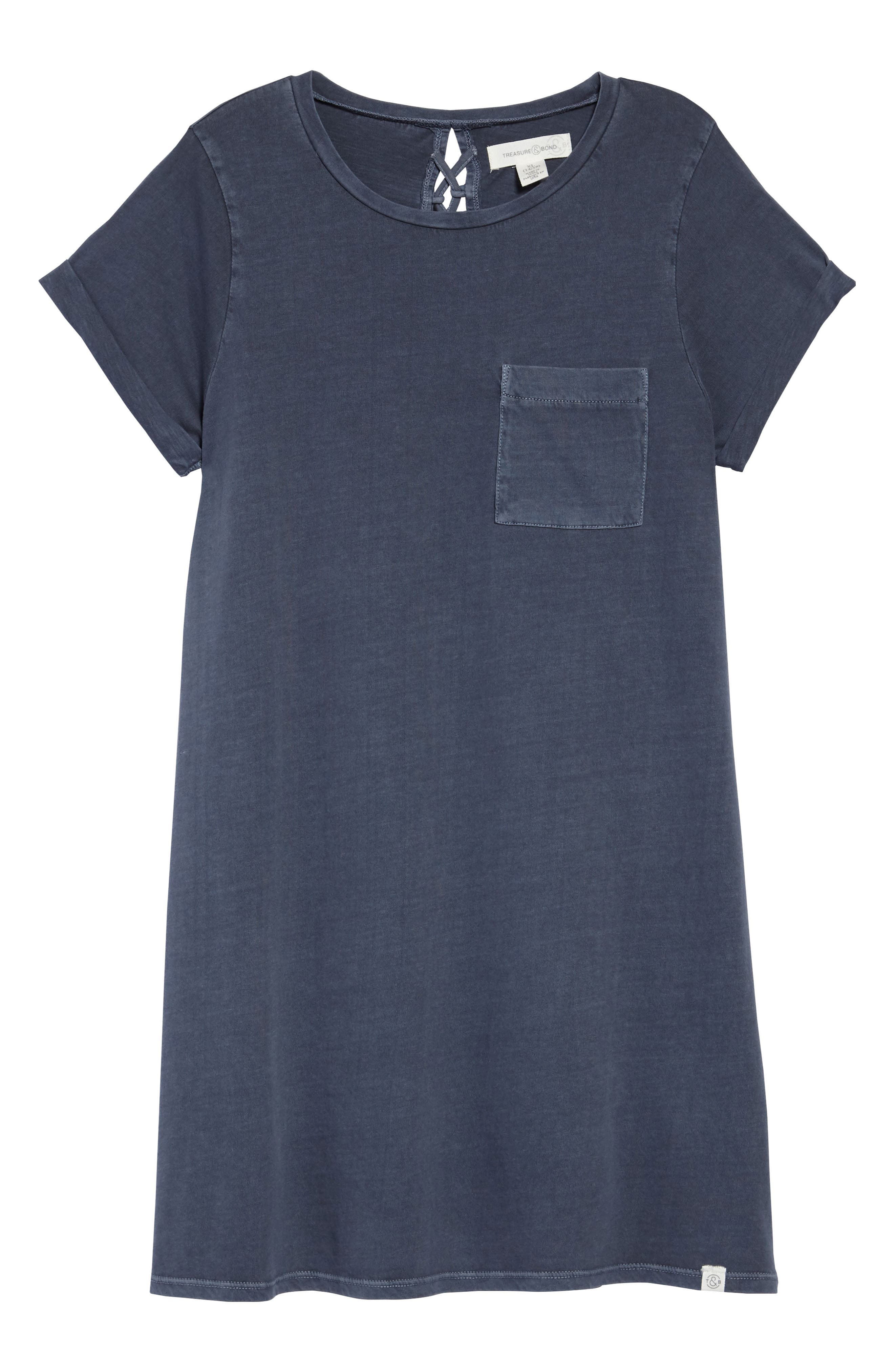 Washed T-Shirt Dress,                         Main,                         color, Navy Armada