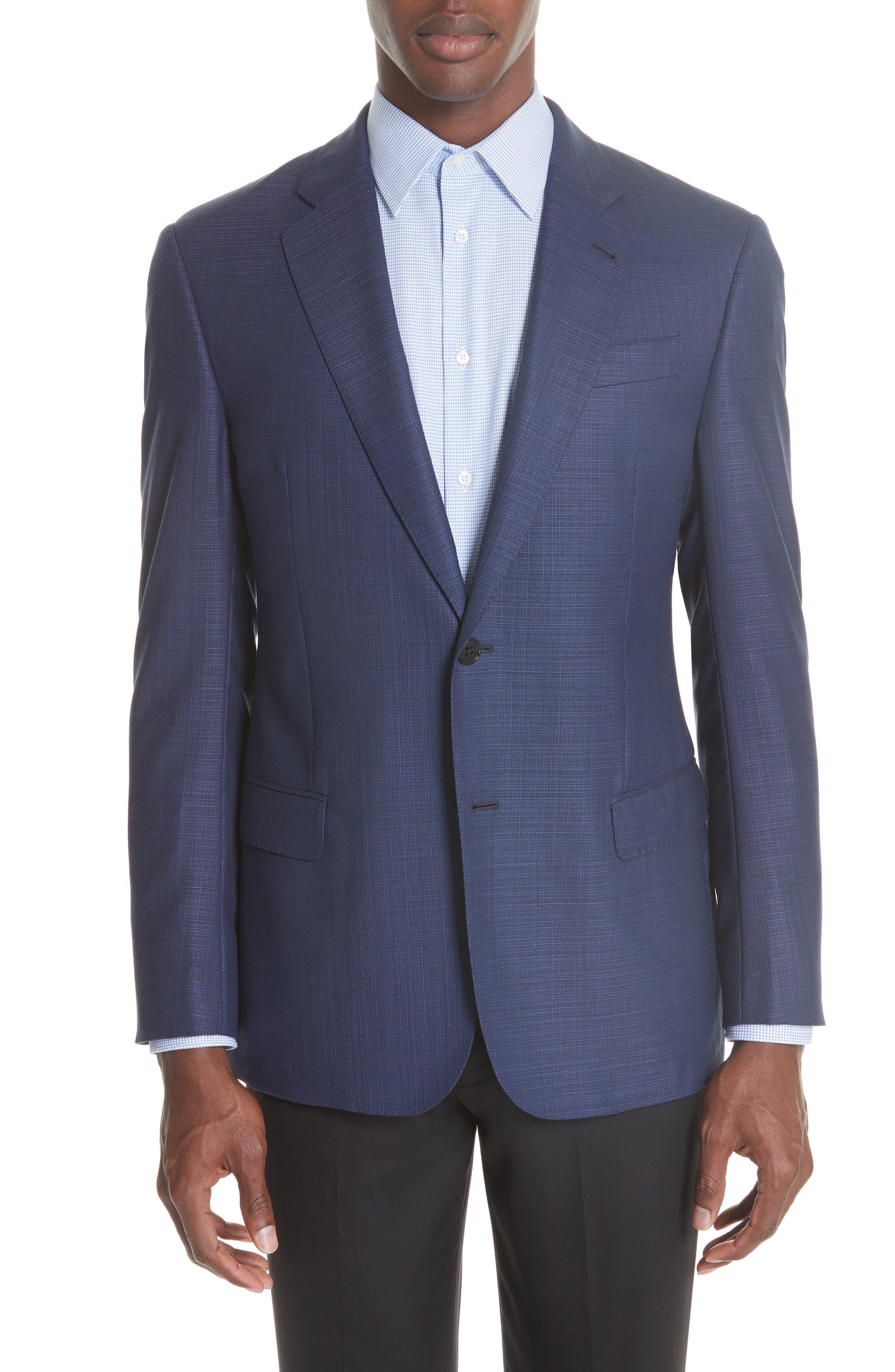 G Line Trim Fit Wool Blazer,                             Main thumbnail 1, color,                             Blue