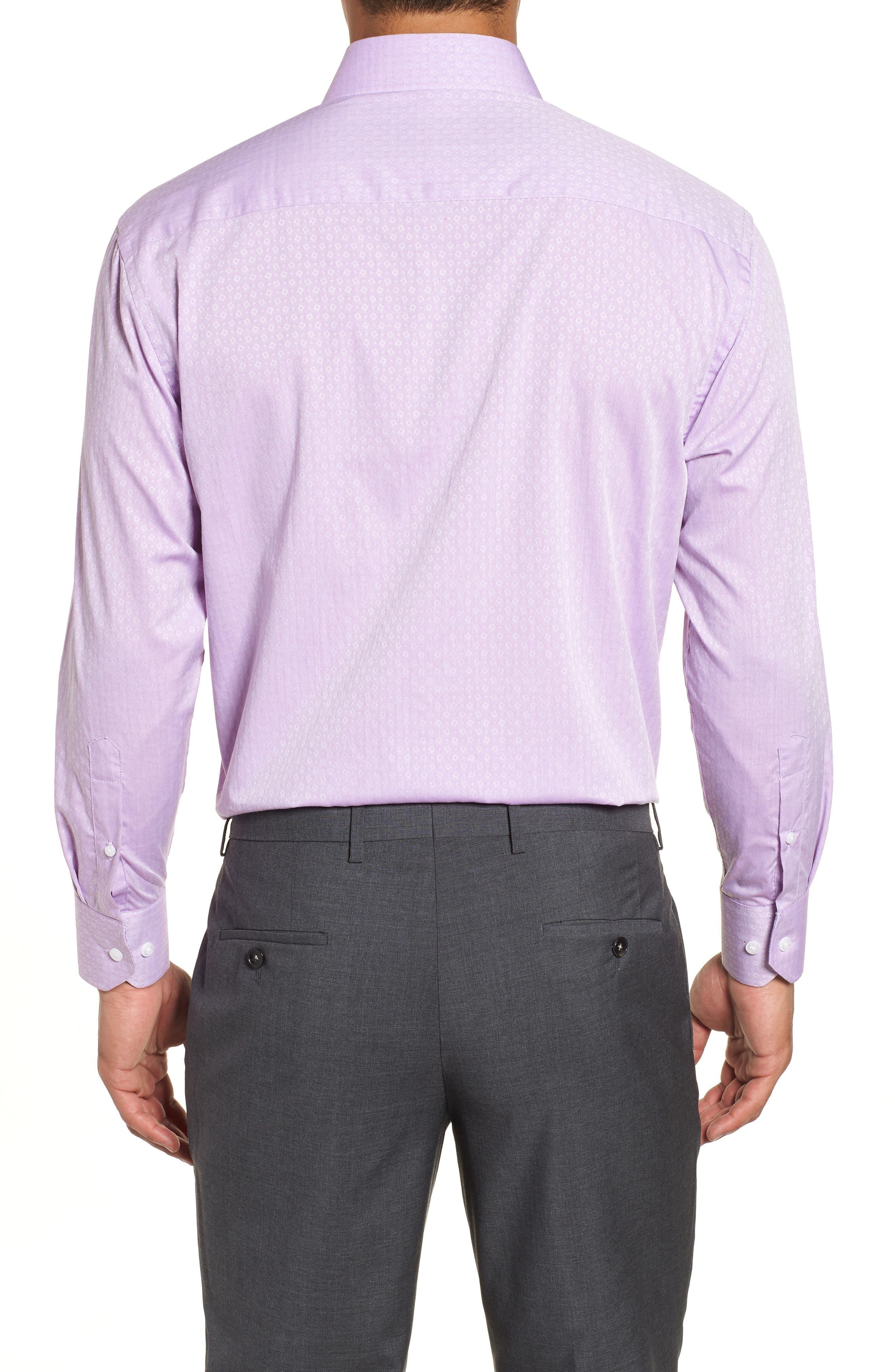 Regular Fit Geometric Dress Shirt,                             Alternate thumbnail 3, color,                             Purple