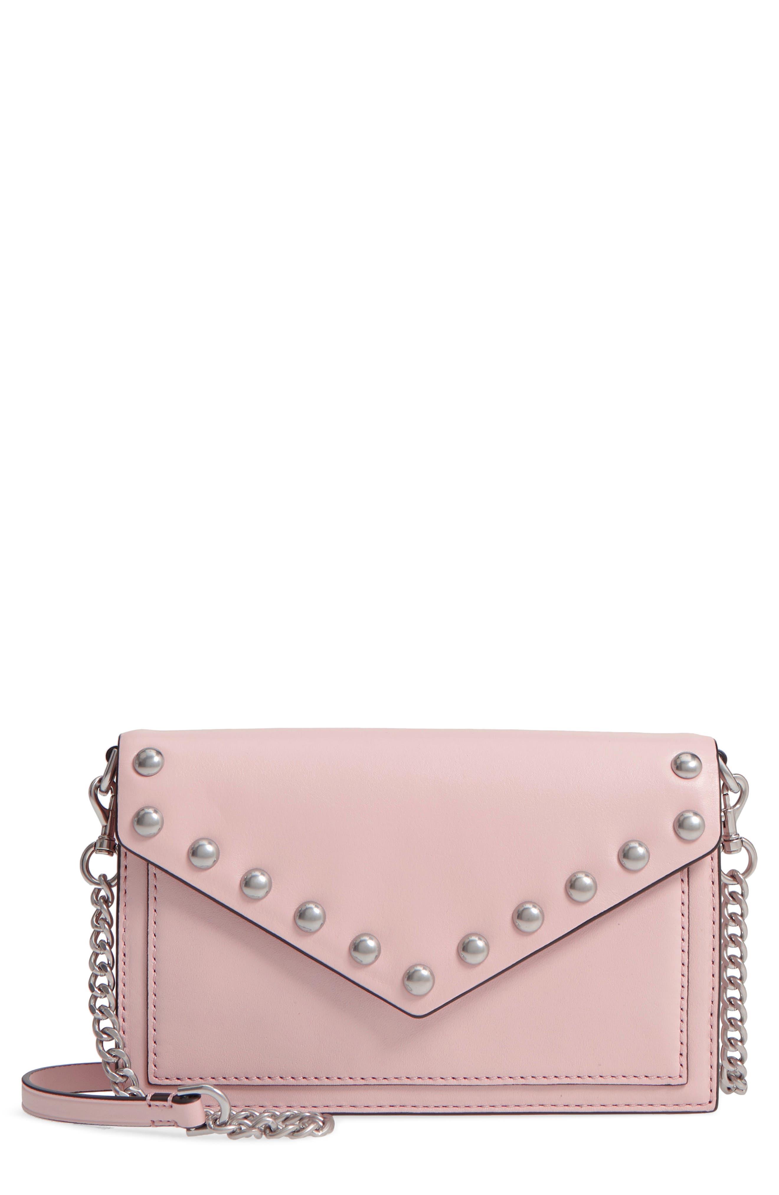 Blythe Studded Leather Crossbody Wallet,                         Main,                         color, Peony