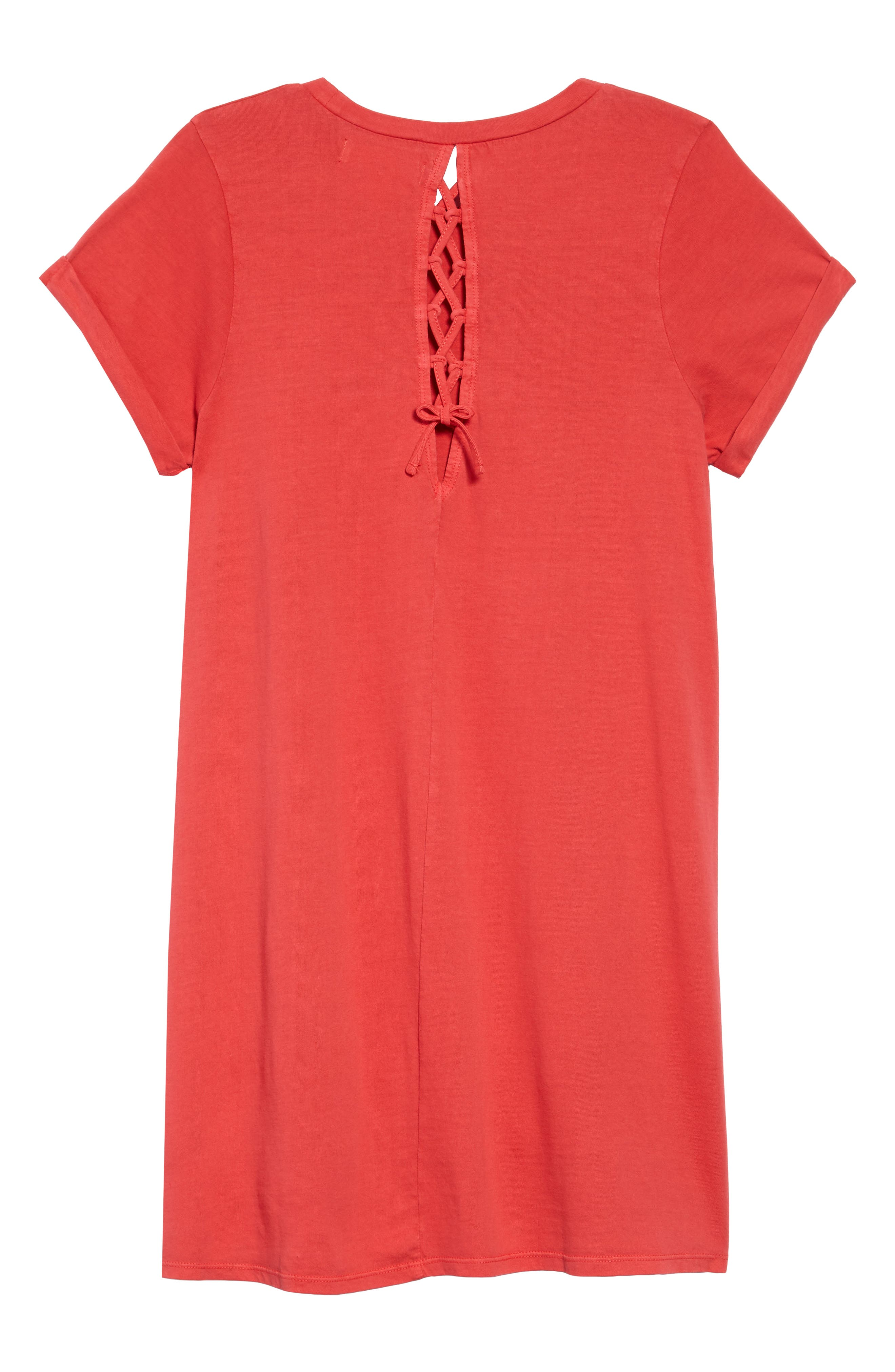 Washed T-Shirt Dress,                             Alternate thumbnail 2, color,                             Red Sage