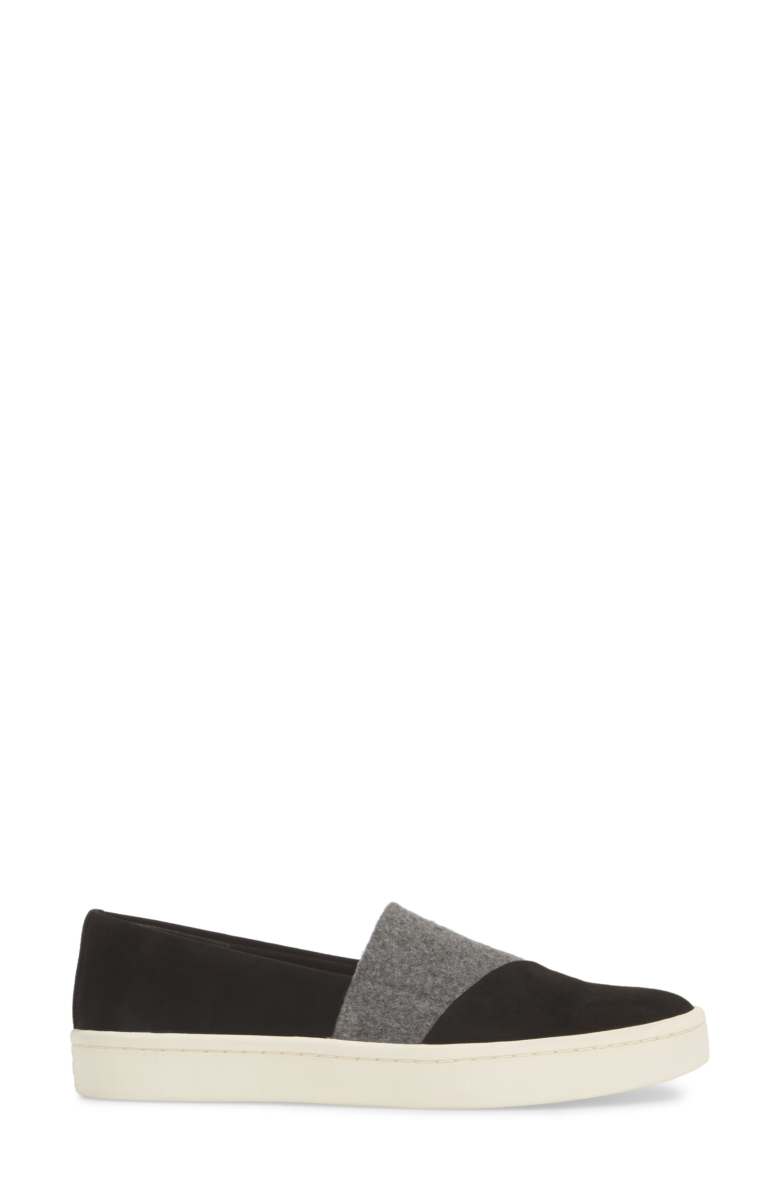 Nouvel Slip-On Sneaker,                             Alternate thumbnail 3, color,                             Black/ Grey Suede