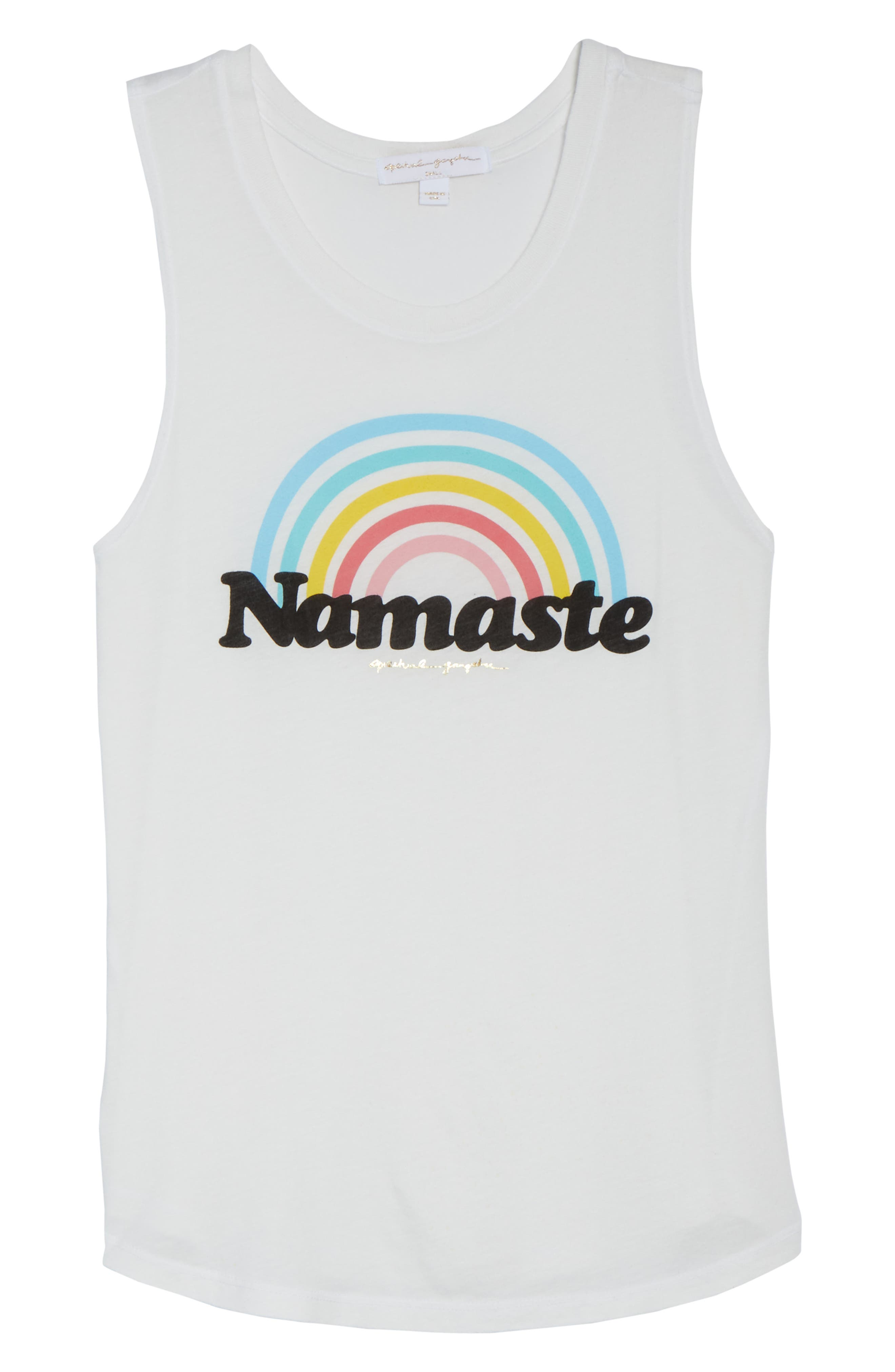 Rainbow Namaste Muscle Tee,                             Alternate thumbnail 7, color,                             Stardust