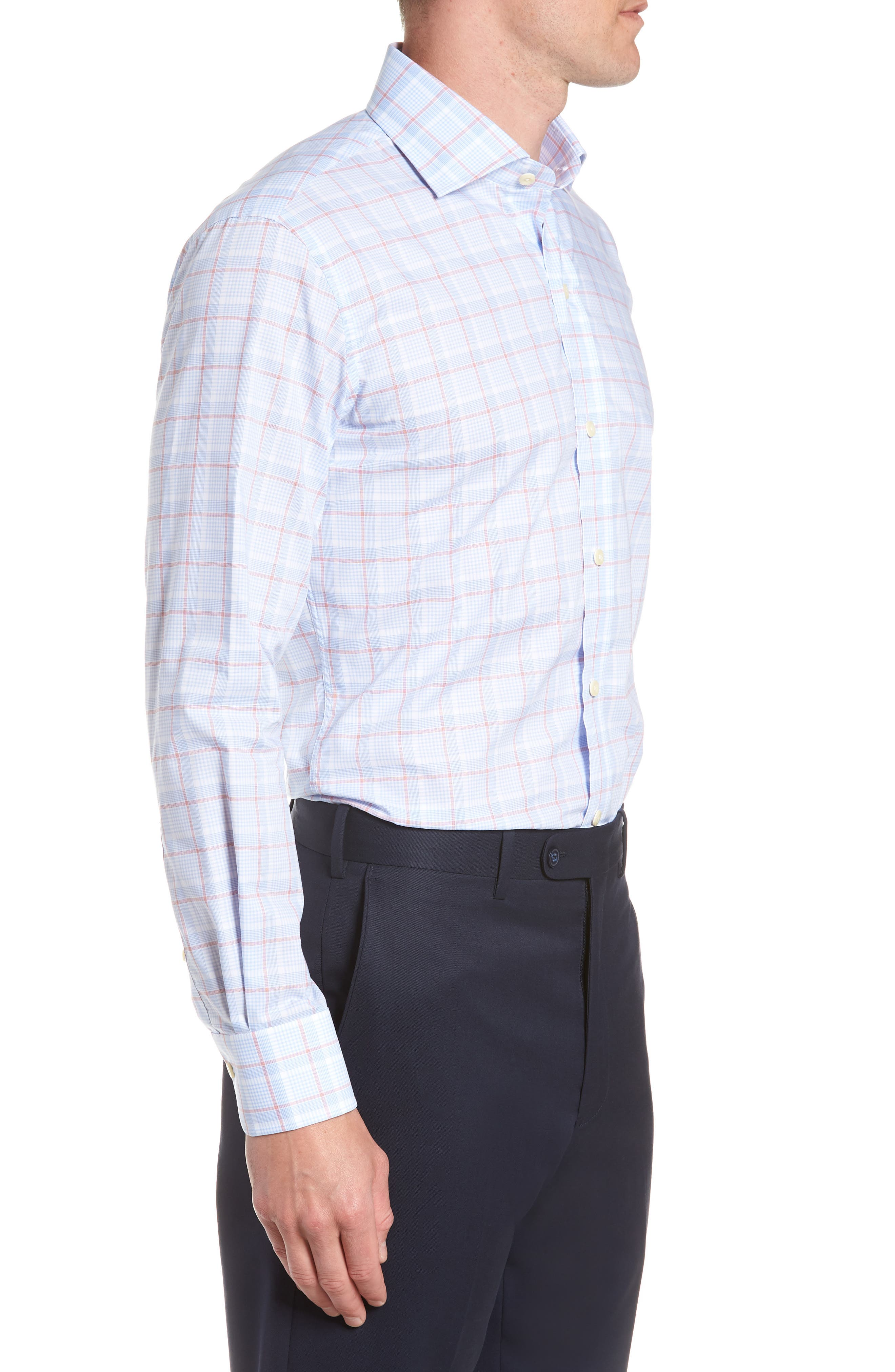 Conwell Slim Fit Plaid Dress Shirt,                             Alternate thumbnail 4, color,                             Blue