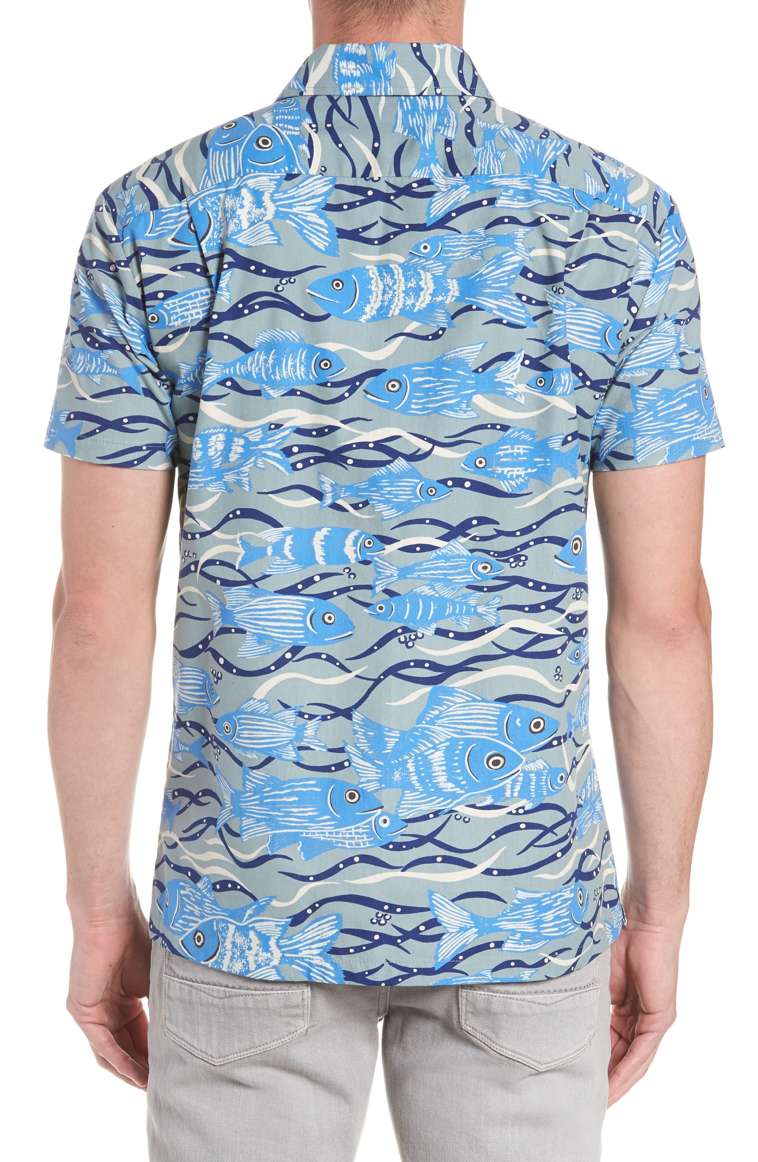 Sea Tangle Trim Fit Sport Shirt,                             Alternate thumbnail 3, color,                             Grey