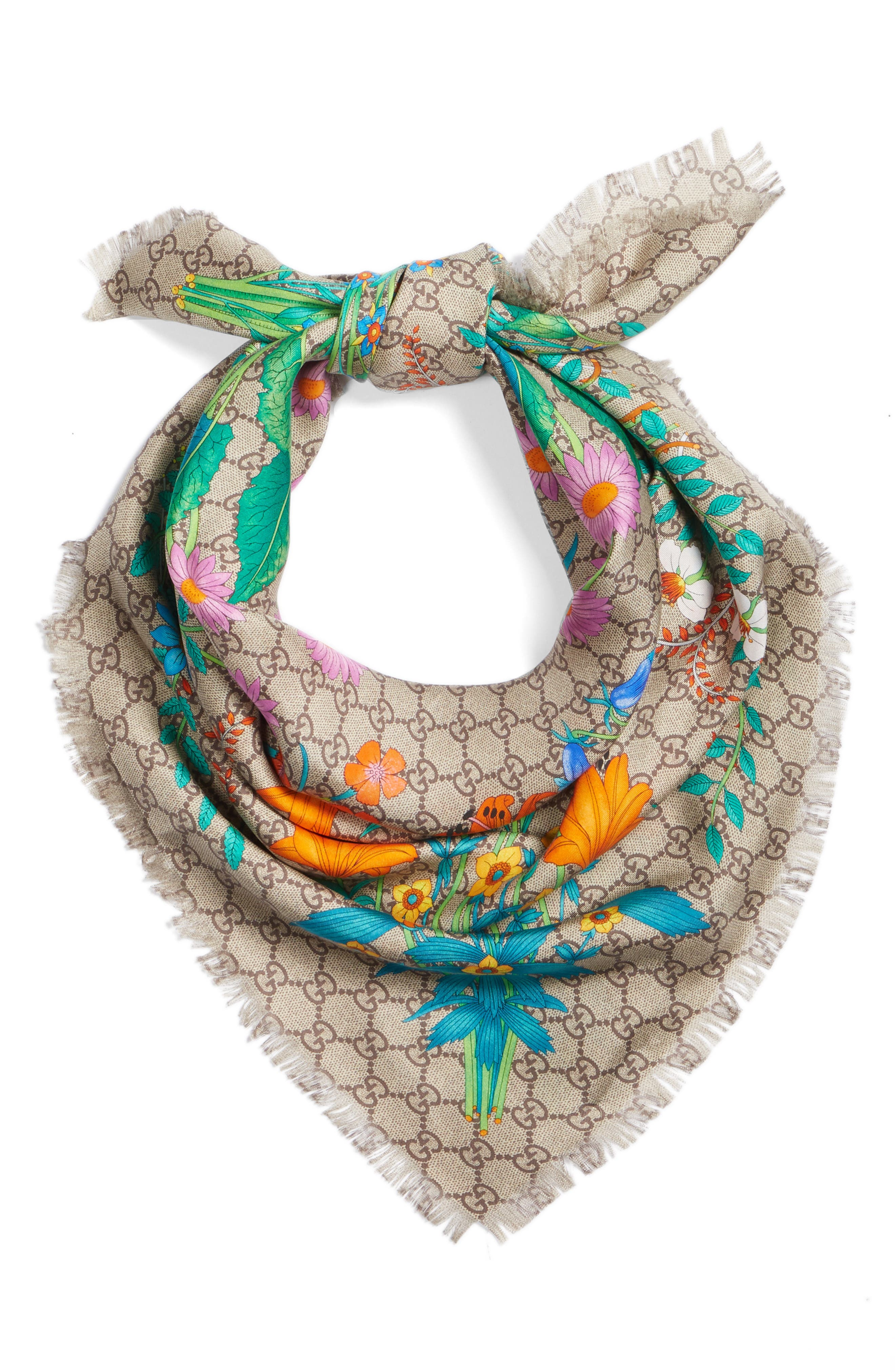 GG New Floral Scarf,                             Alternate thumbnail 3, color,                             Multicolor