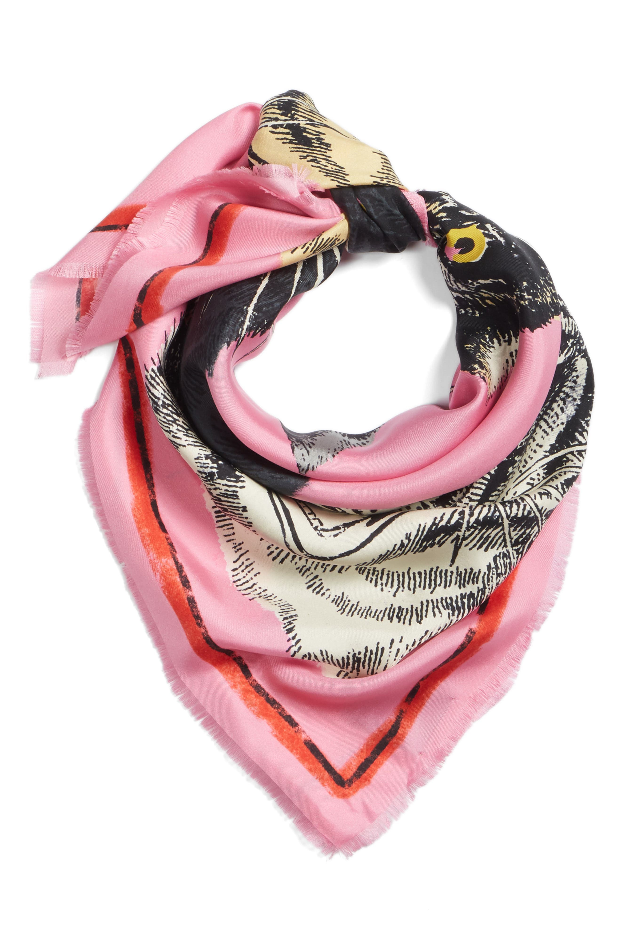 Tiger Faces Scarf,                             Alternate thumbnail 3, color,                             Roseate