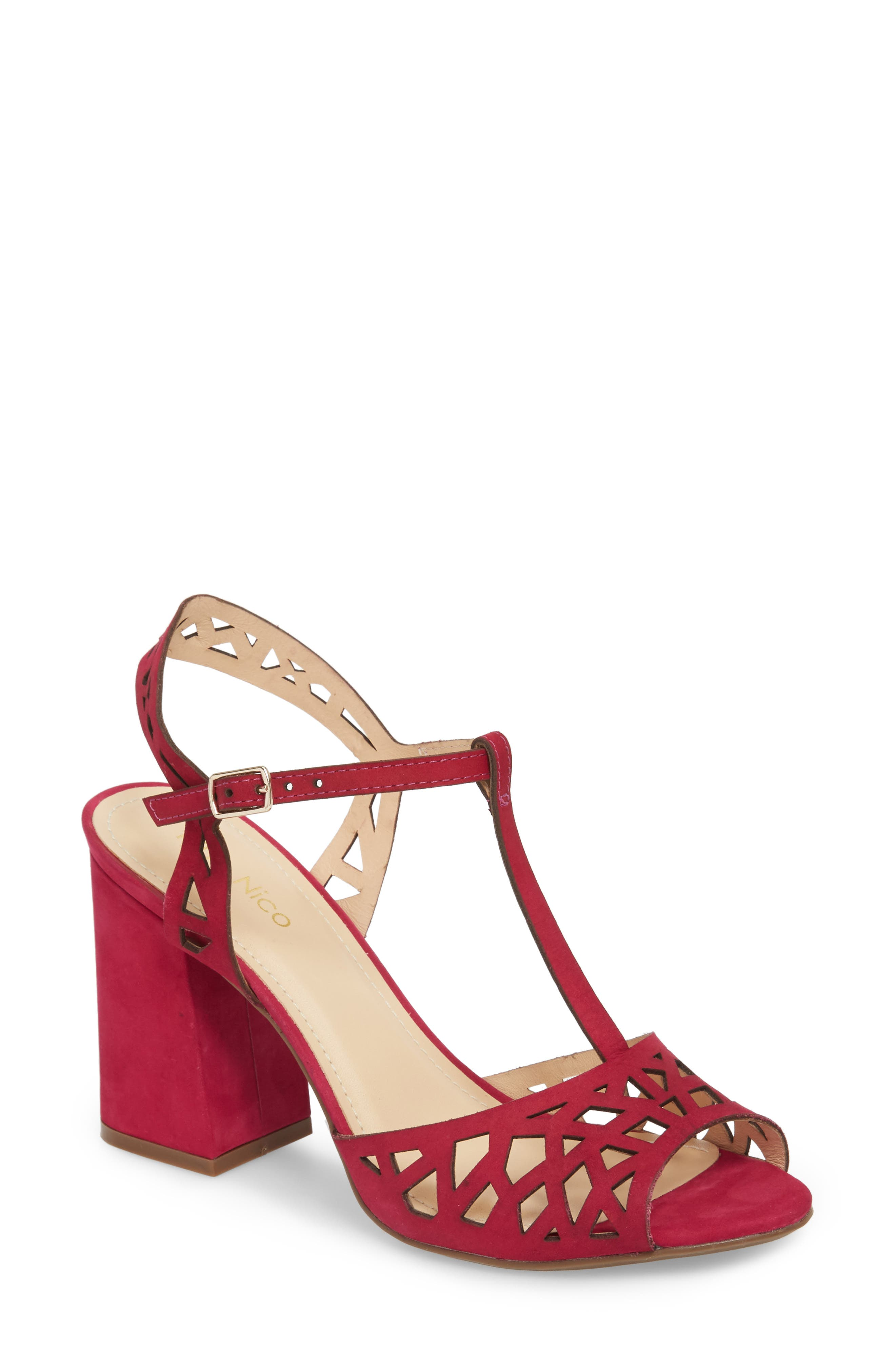 Tessa Sandal,                         Main,                         color, Magenta Nubuck Leather