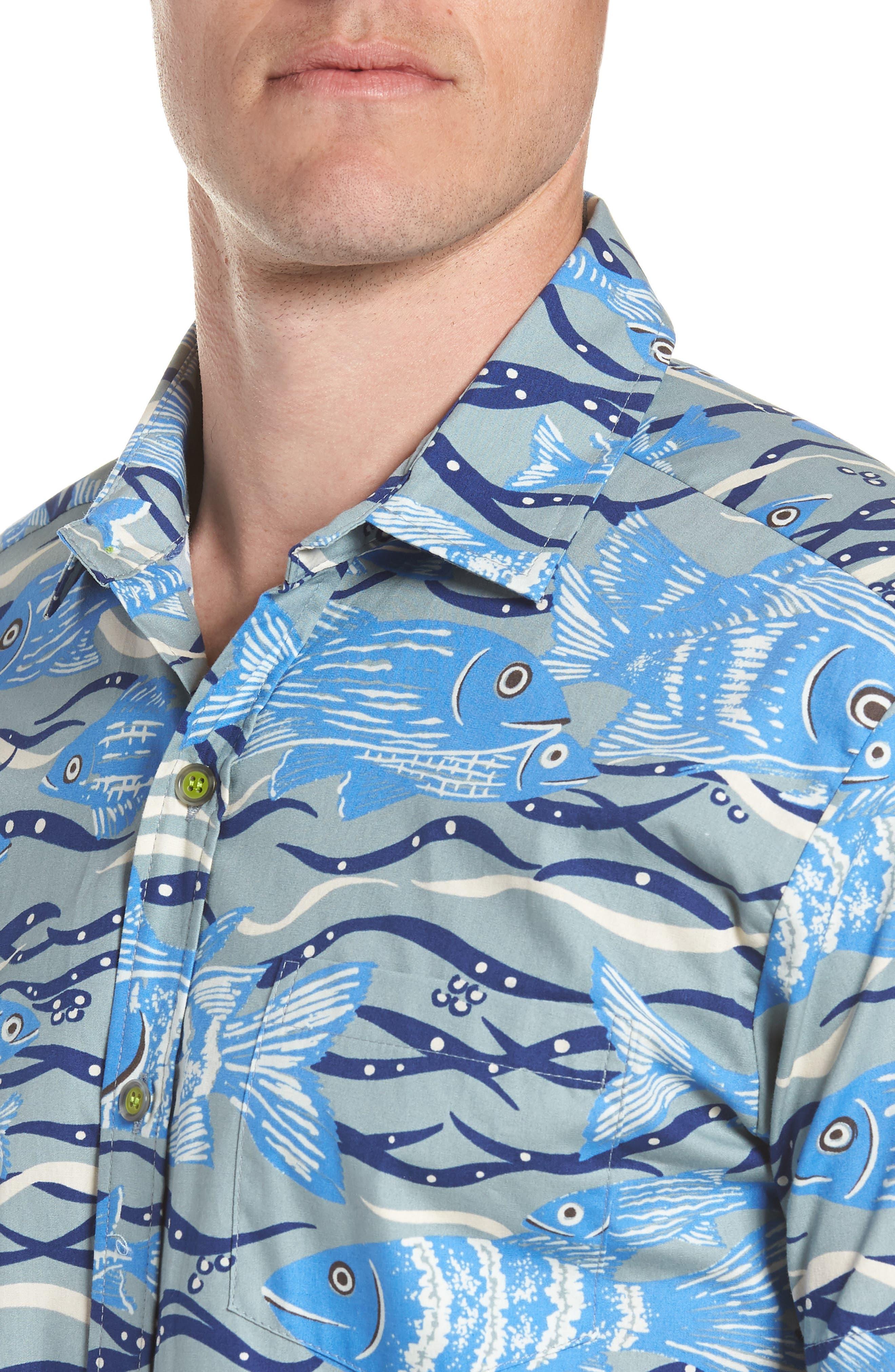 Sea Tangle Trim Fit Sport Shirt,                             Alternate thumbnail 2, color,                             Grey