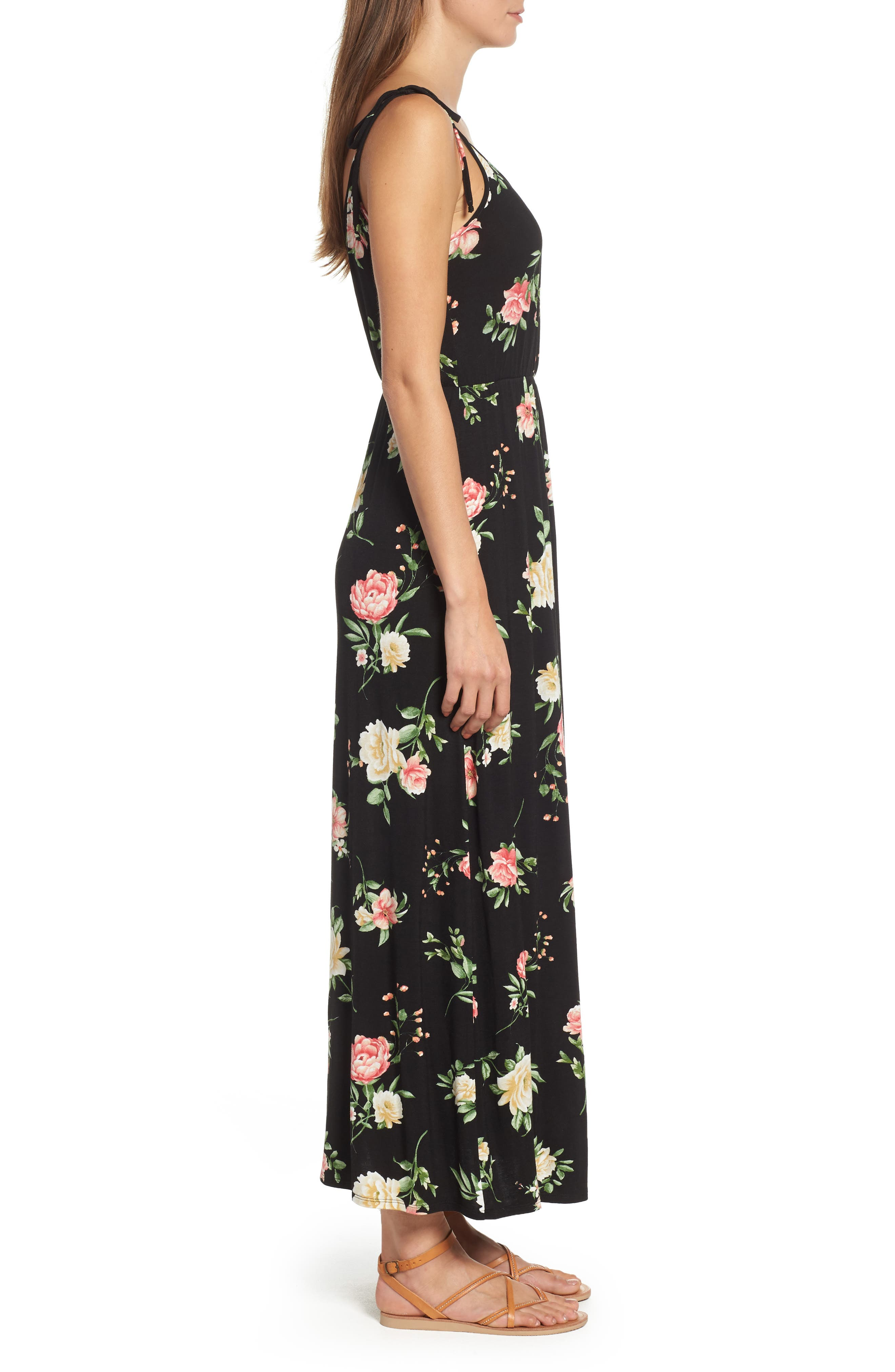Faux Wrap Maxi Dress,                             Alternate thumbnail 3, color,                             Black/ Coral