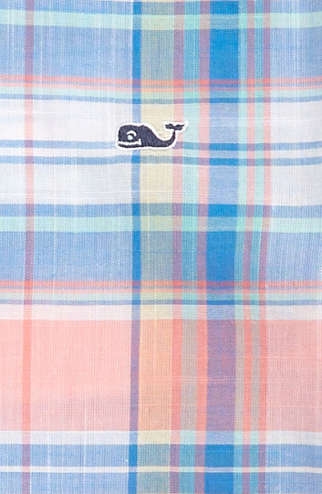 Smith Point Plaid Whale Shirt,                             Alternate thumbnail 2, color,                             Washed Neon Pink