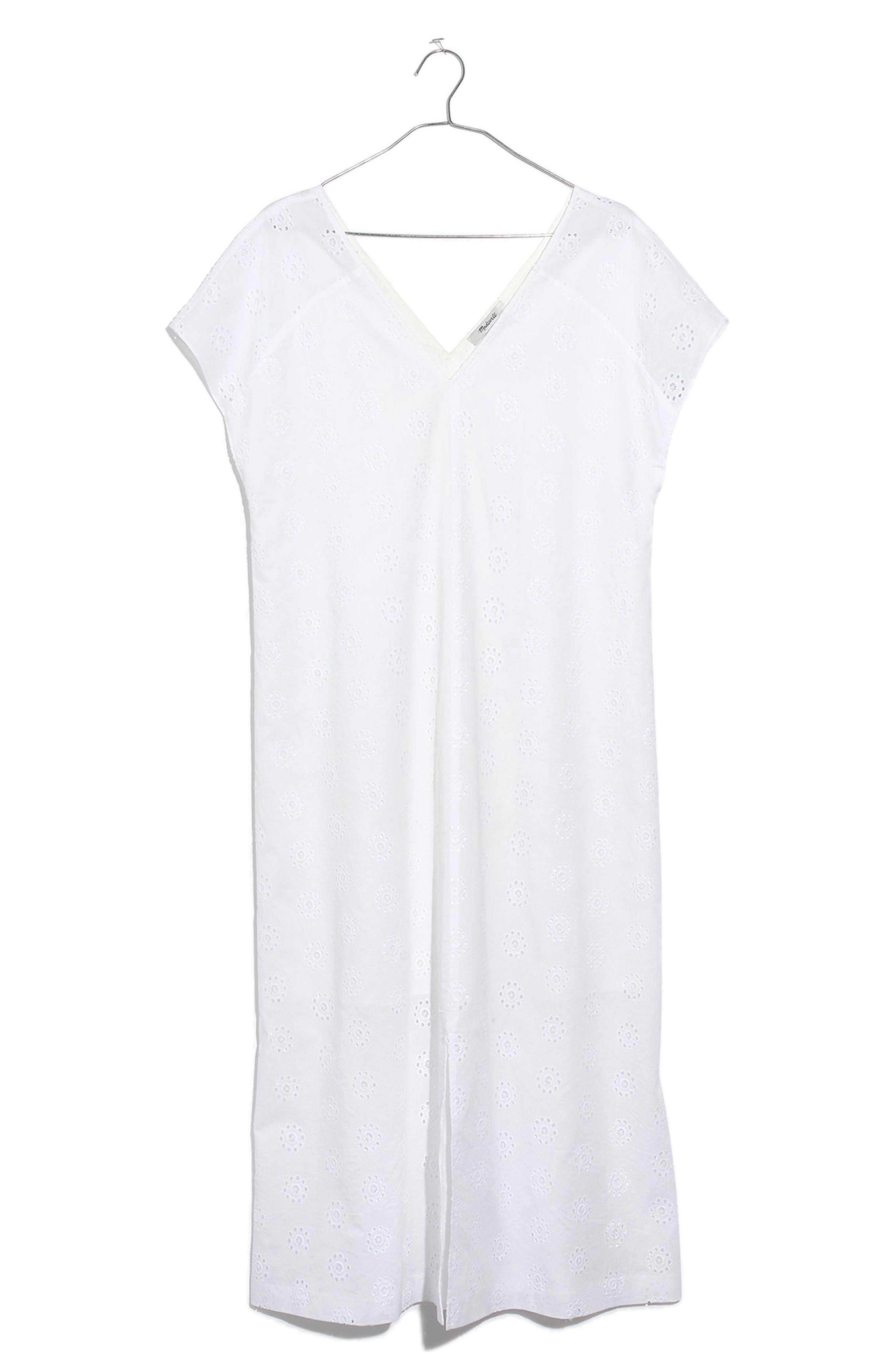 Eyelet Midi Dress,                             Alternate thumbnail 3, color,                             Eyelet White
