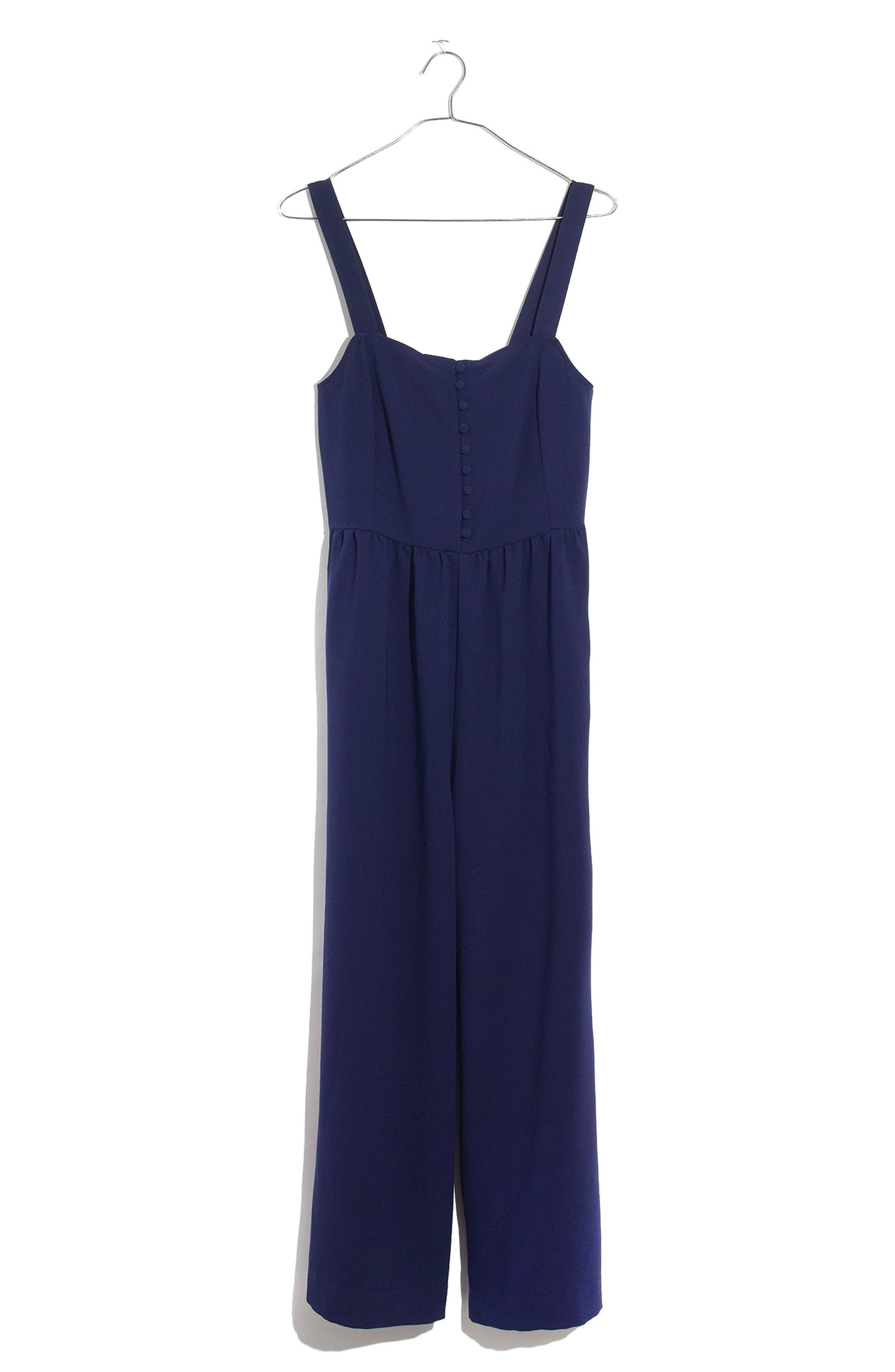 Smocked Button Front Crop Jumpsuit,                             Alternate thumbnail 3, color,                             Nightfall