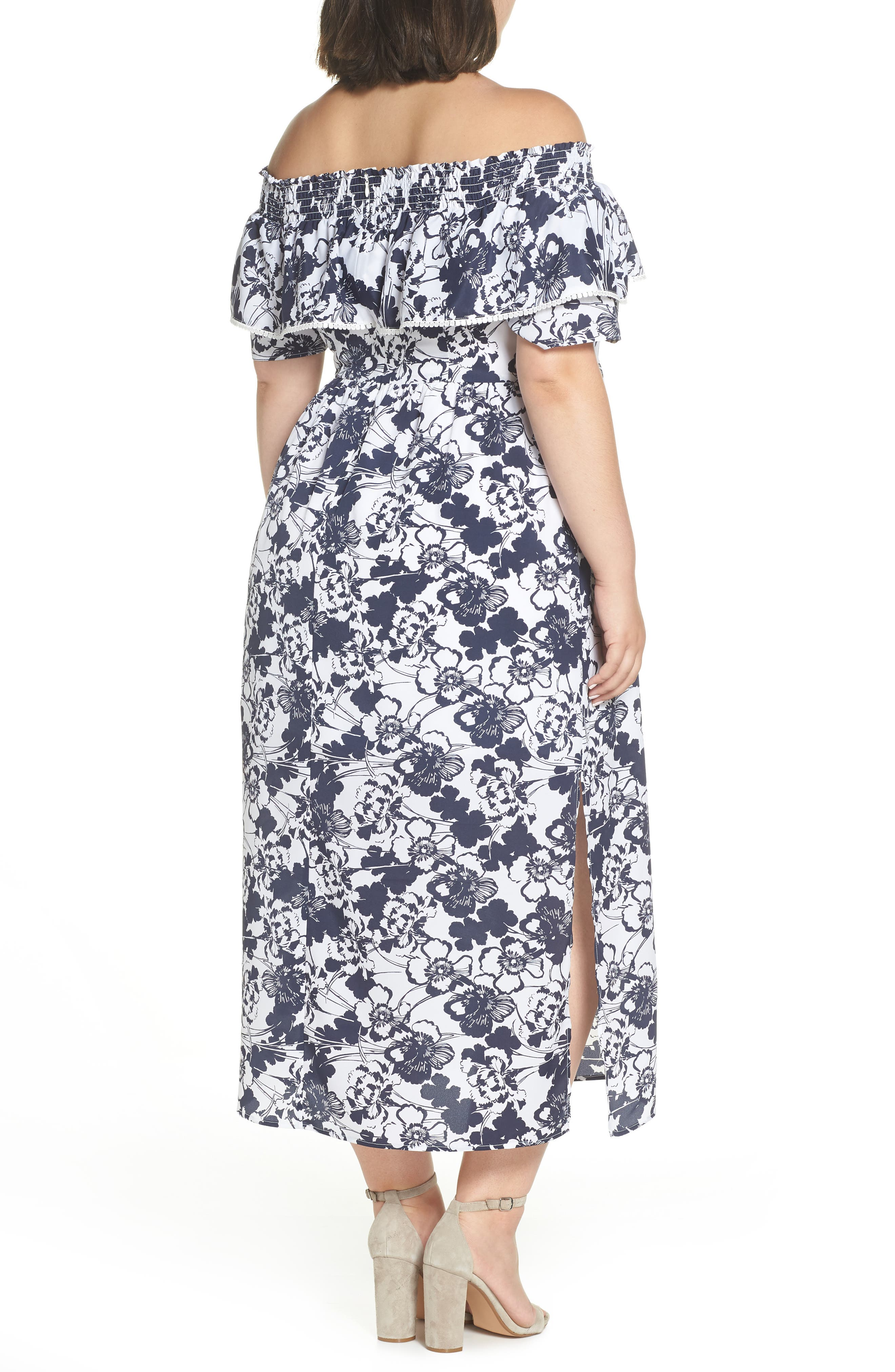Off the Shoulder Ruffle Maxi Dress,                             Alternate thumbnail 9, color,                             Navy Ivory Floral Print