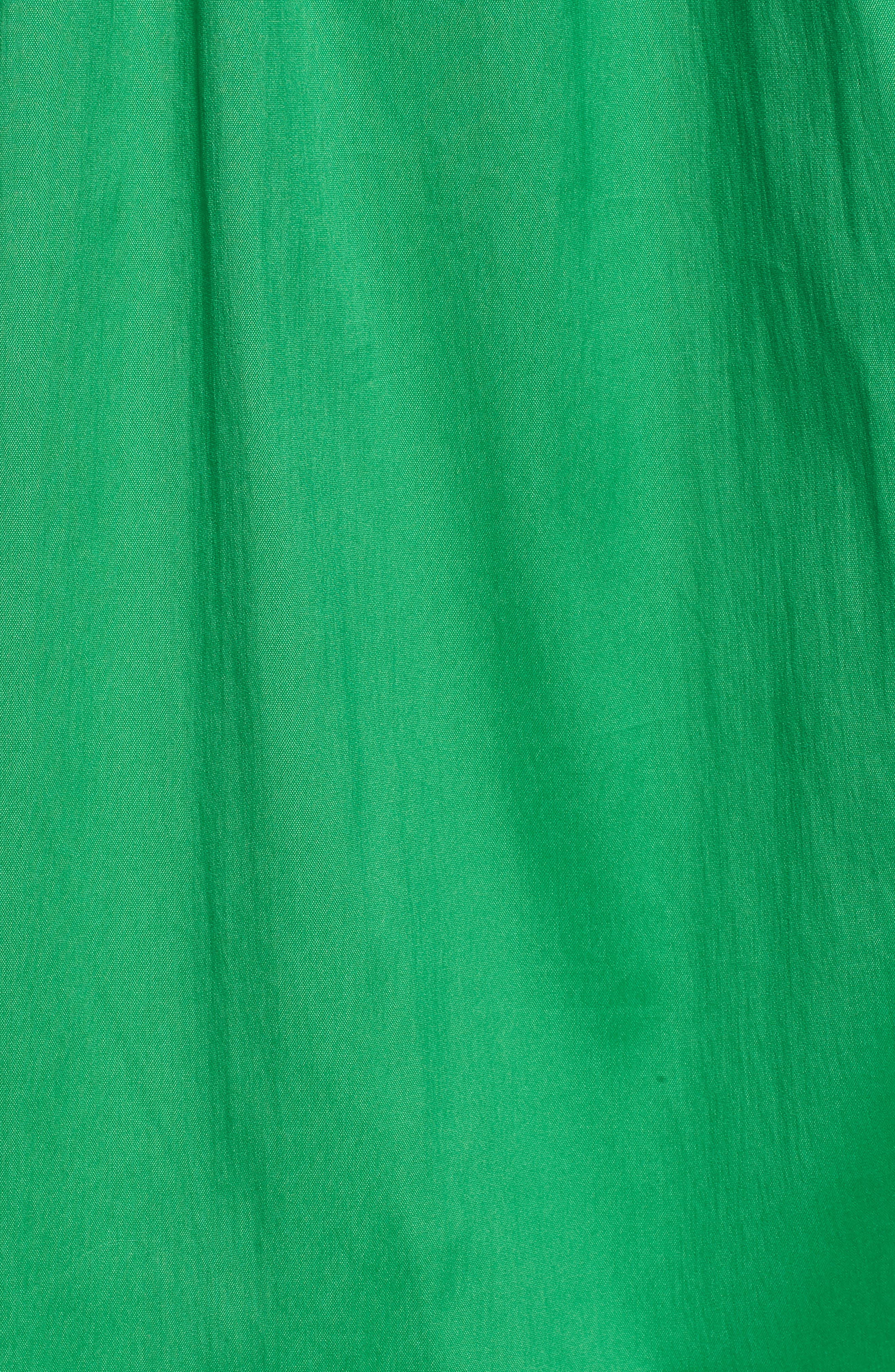 Drawcord Stretch Cotton Blend Dress,                             Alternate thumbnail 6, color,                             Green Kelly
