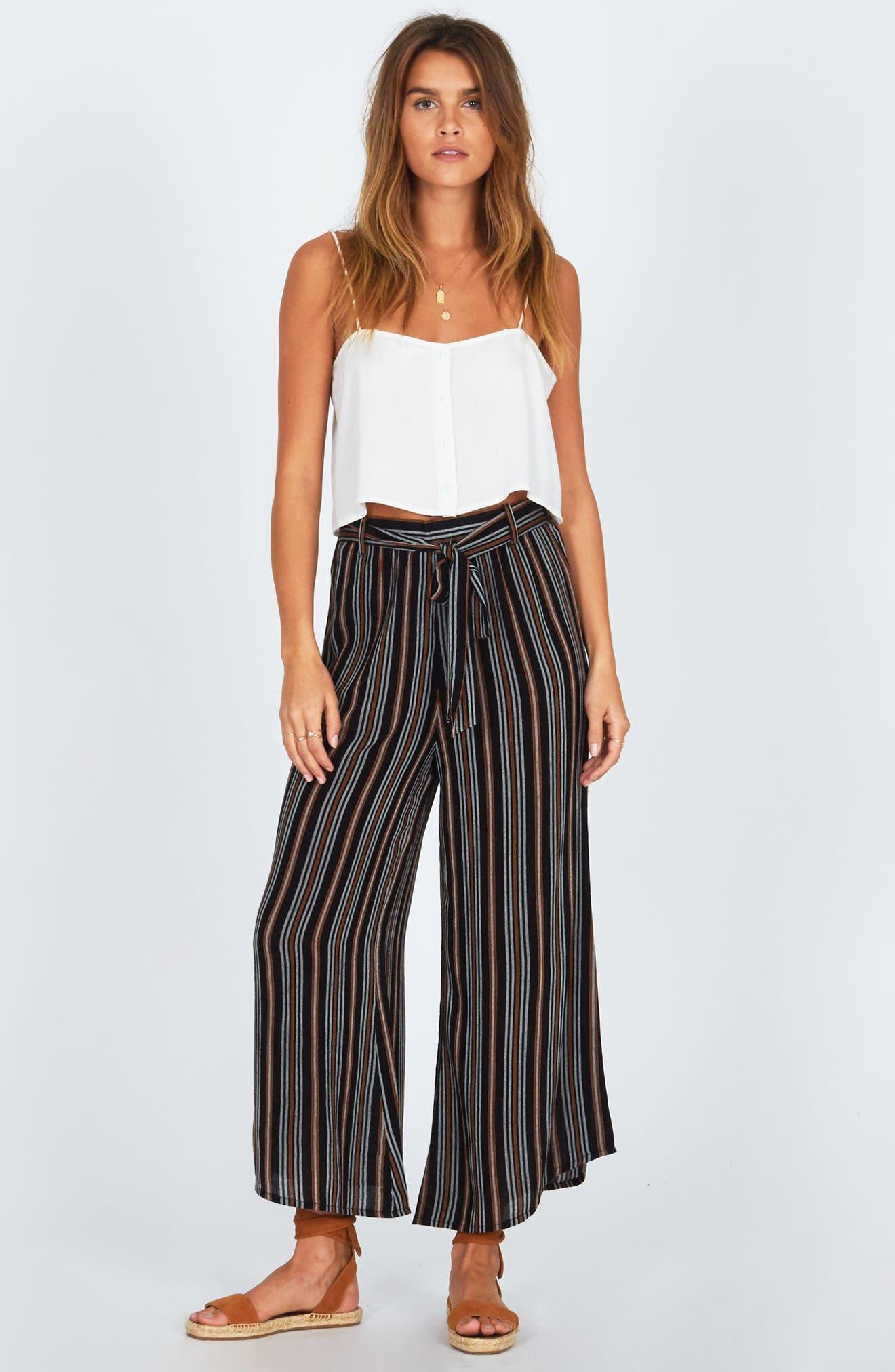 Even Tides Stripe Pants,                             Alternate thumbnail 2, color,                             Black