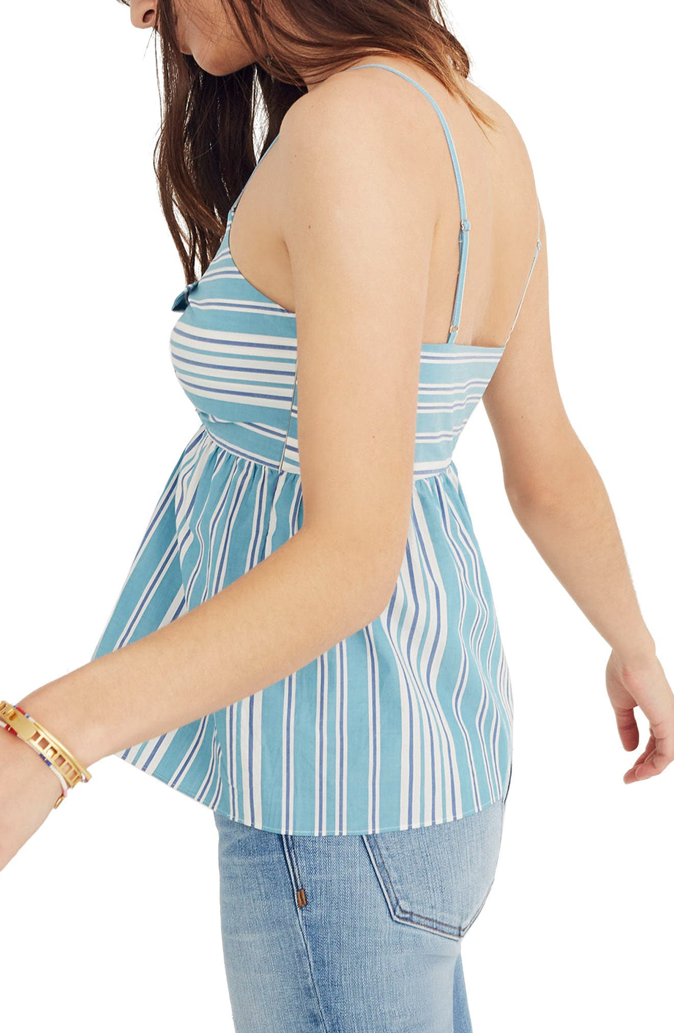 Stripe Tie Front Keyhole Camisole,                             Alternate thumbnail 3, color,                             White Wash