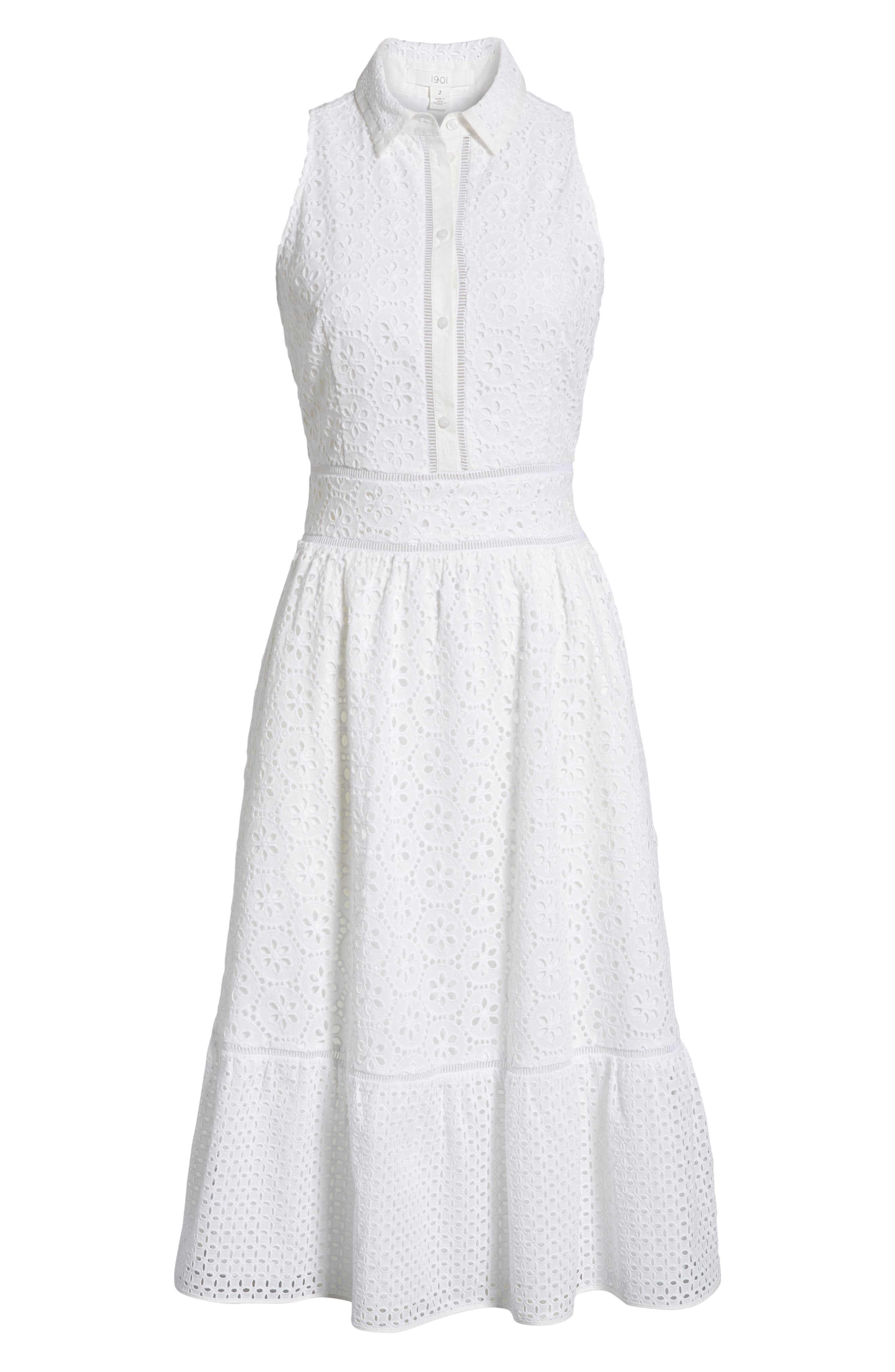 Cotton Eyelet Sleeveless Shirtdress,                             Alternate thumbnail 7, color,                             White