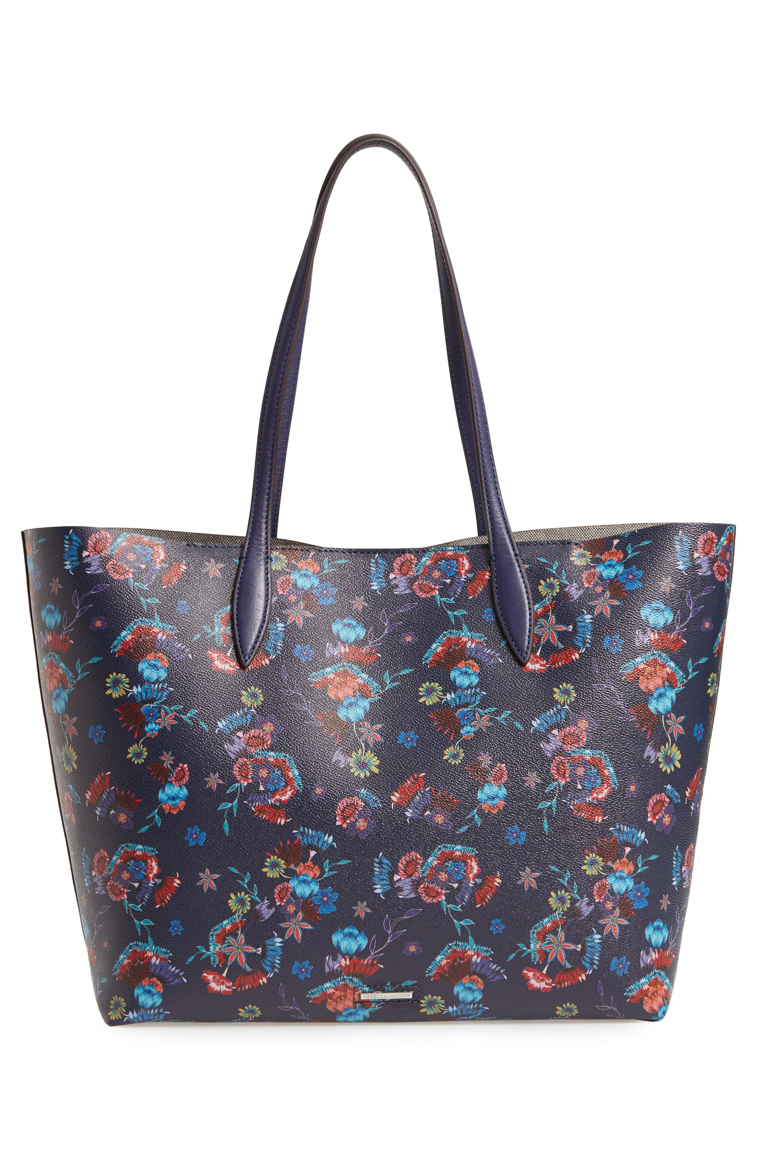 Large Heather Tote,                             Alternate thumbnail 3, color,                             Floral Blue