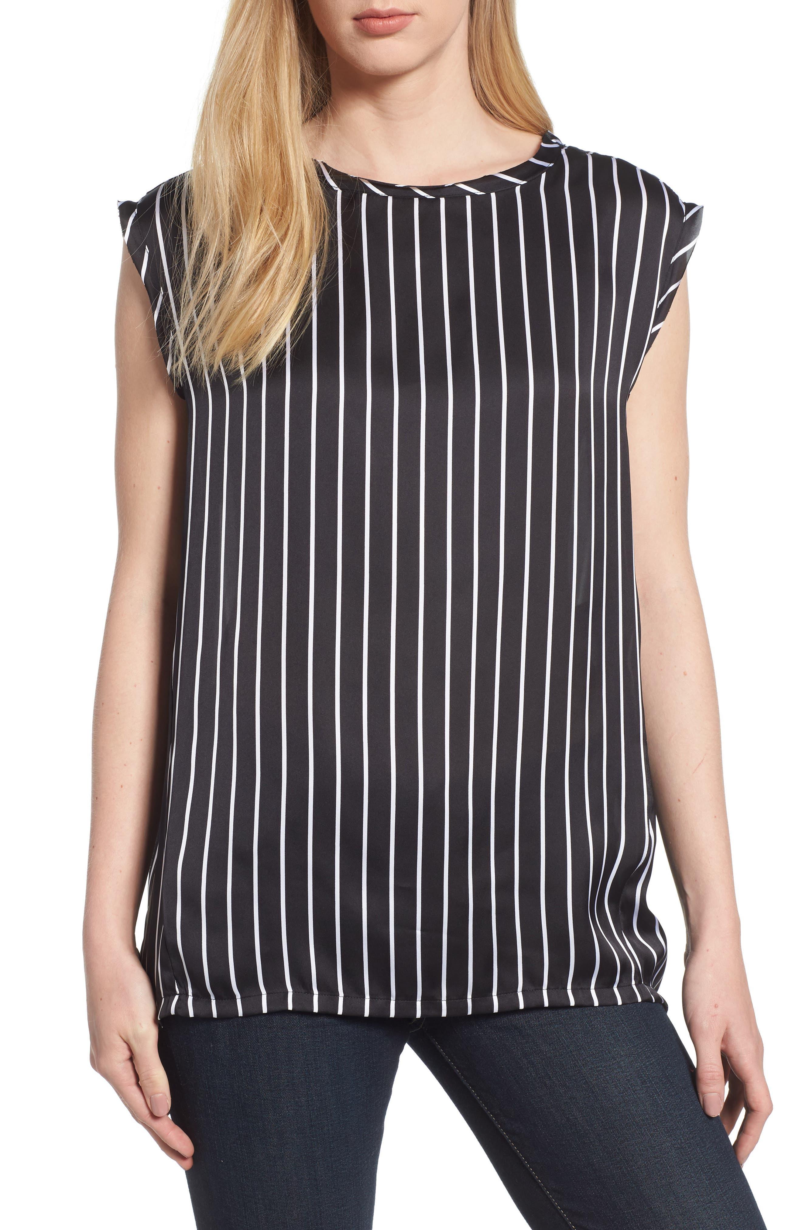 Circle Blouse,                         Main,                         color, Street Stripe Black