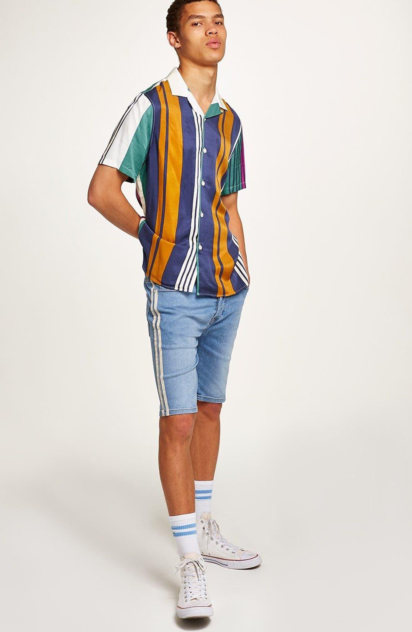 Tape Stretch Skinny Fit Denim Shorts,                             Alternate thumbnail 4, color,                             Blue
