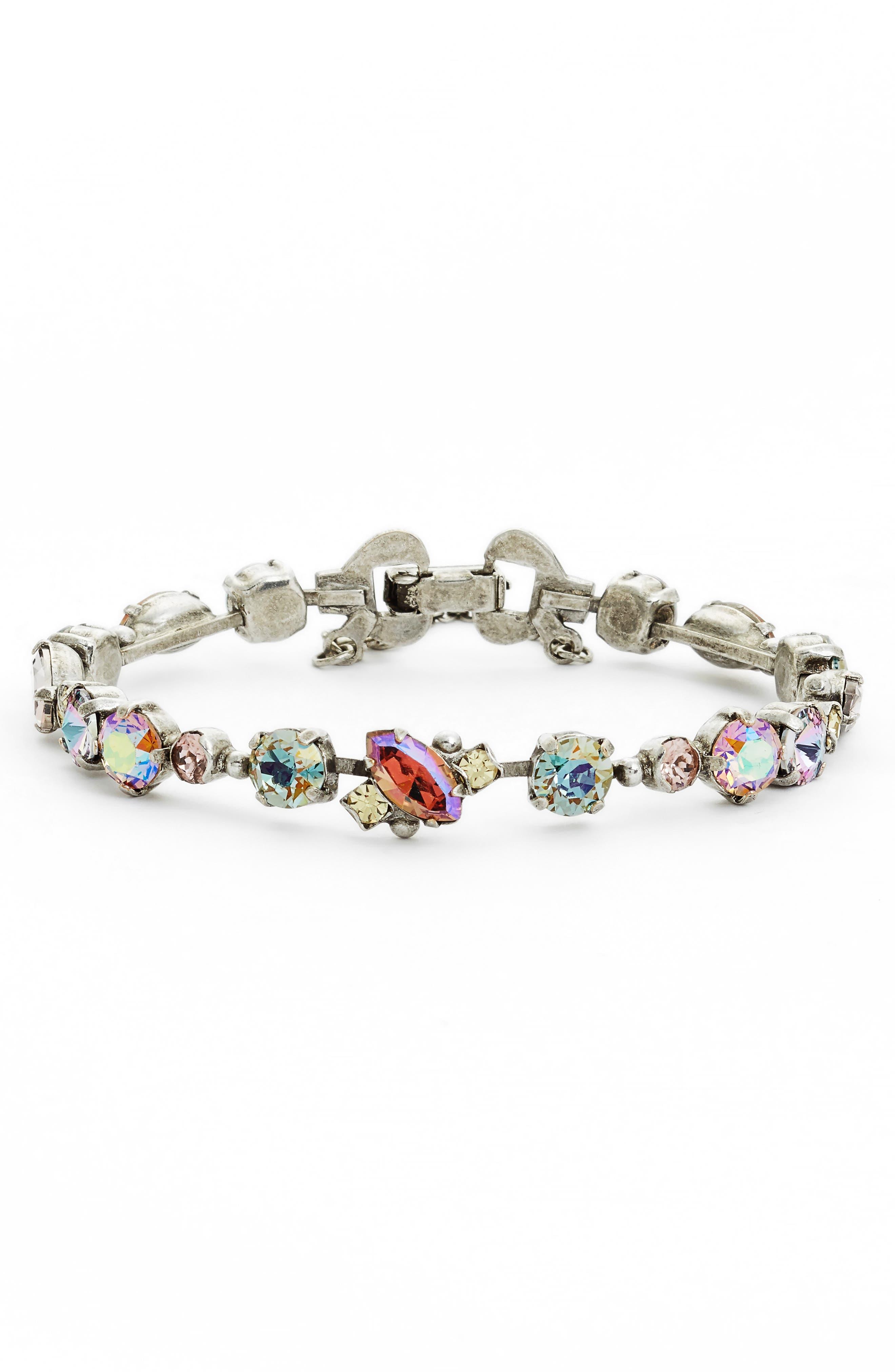 Modern Muse Crystal Bracelet,                             Main thumbnail 1, color,                             Purple