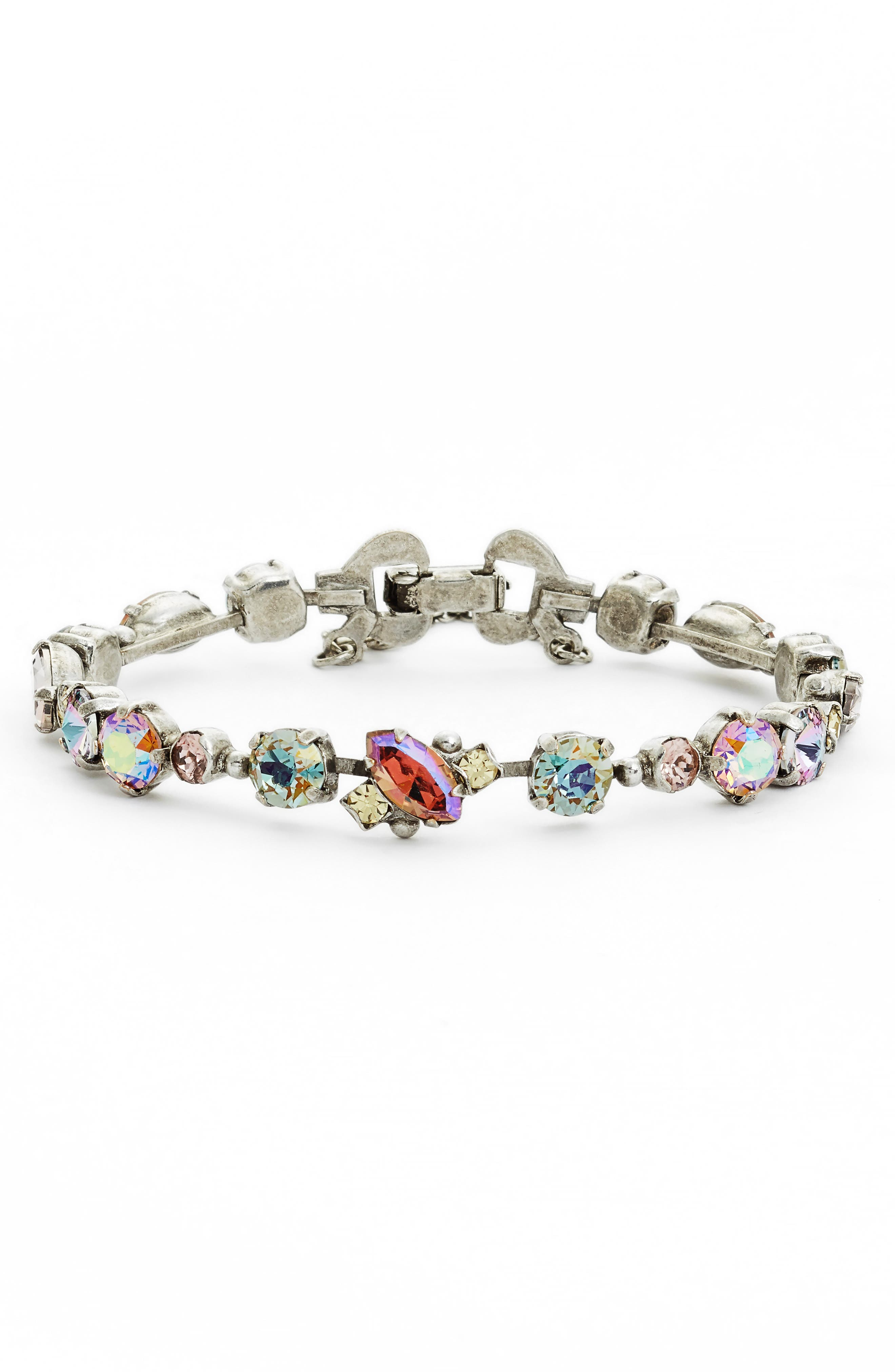 Modern Muse Crystal Bracelet,                         Main,                         color, Purple