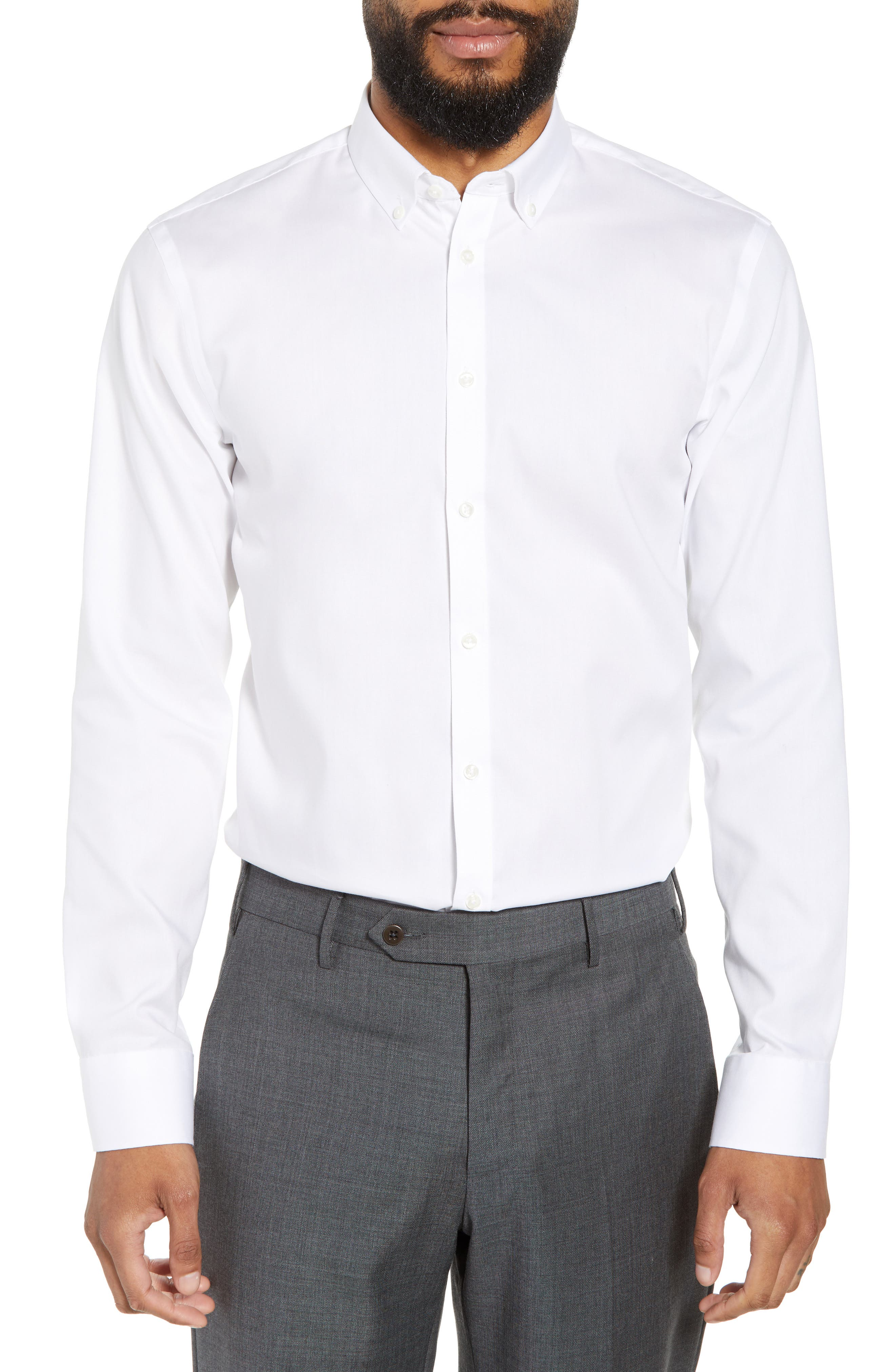 Extra Trim Fit Non-Iron Solid Dress Shirt,                         Main,                         color, White