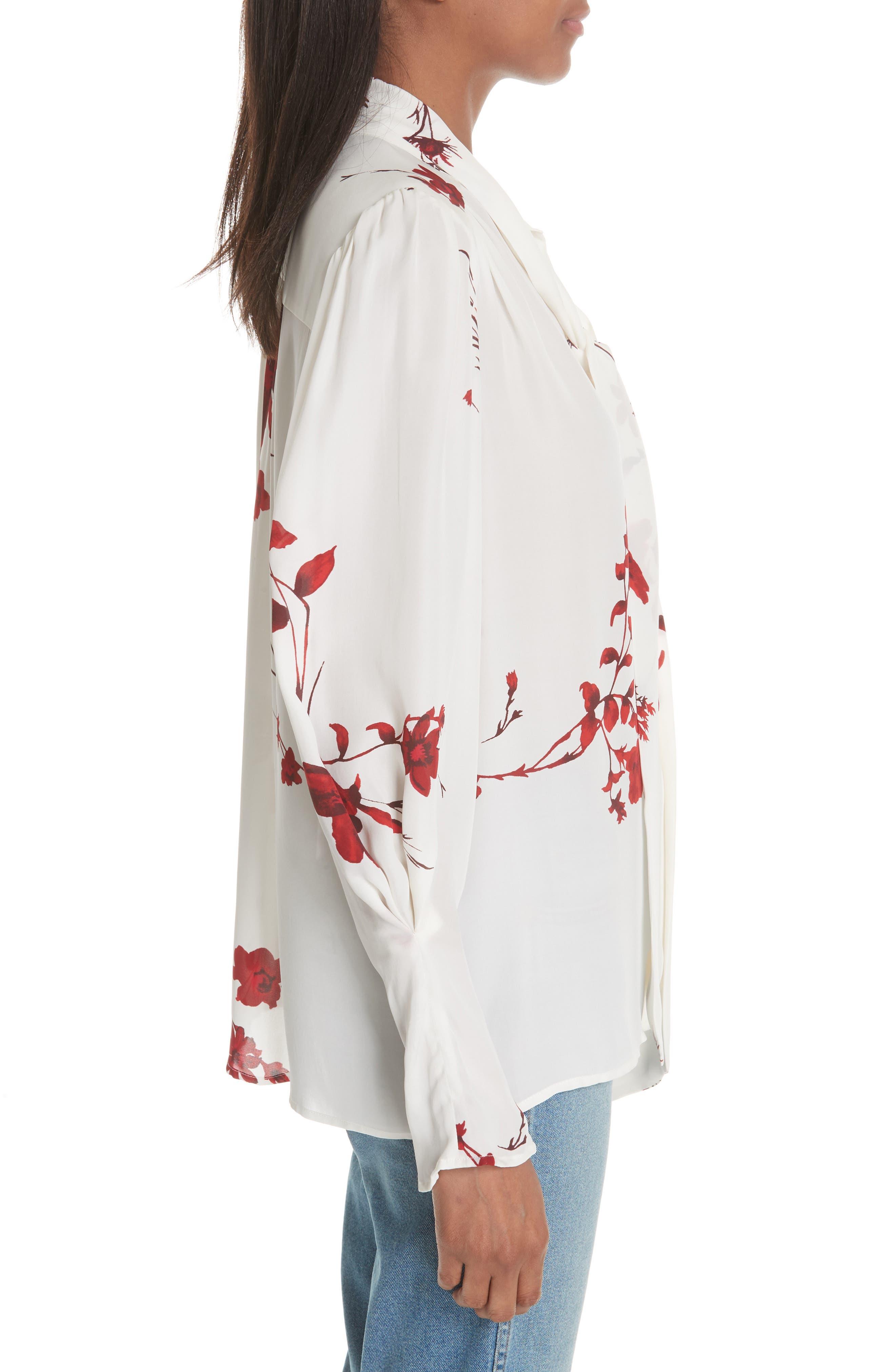 Angeletta Tie Neck Floral Silk Blouse,                             Alternate thumbnail 3, color,                             Porcelain